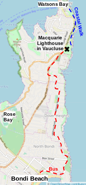 Map of bus route to Watsons Bay
