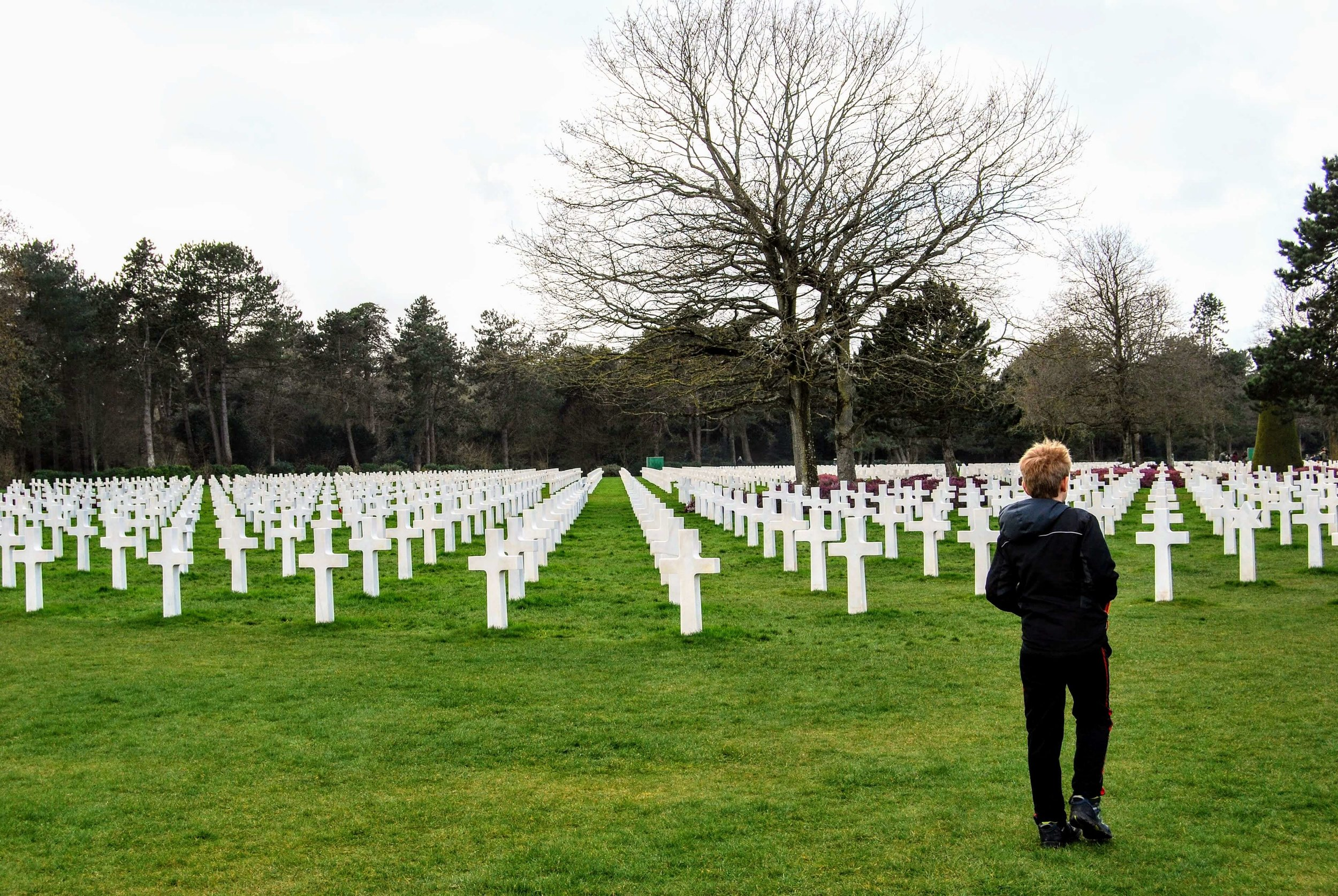 Walking among the graves at the American Cemetery