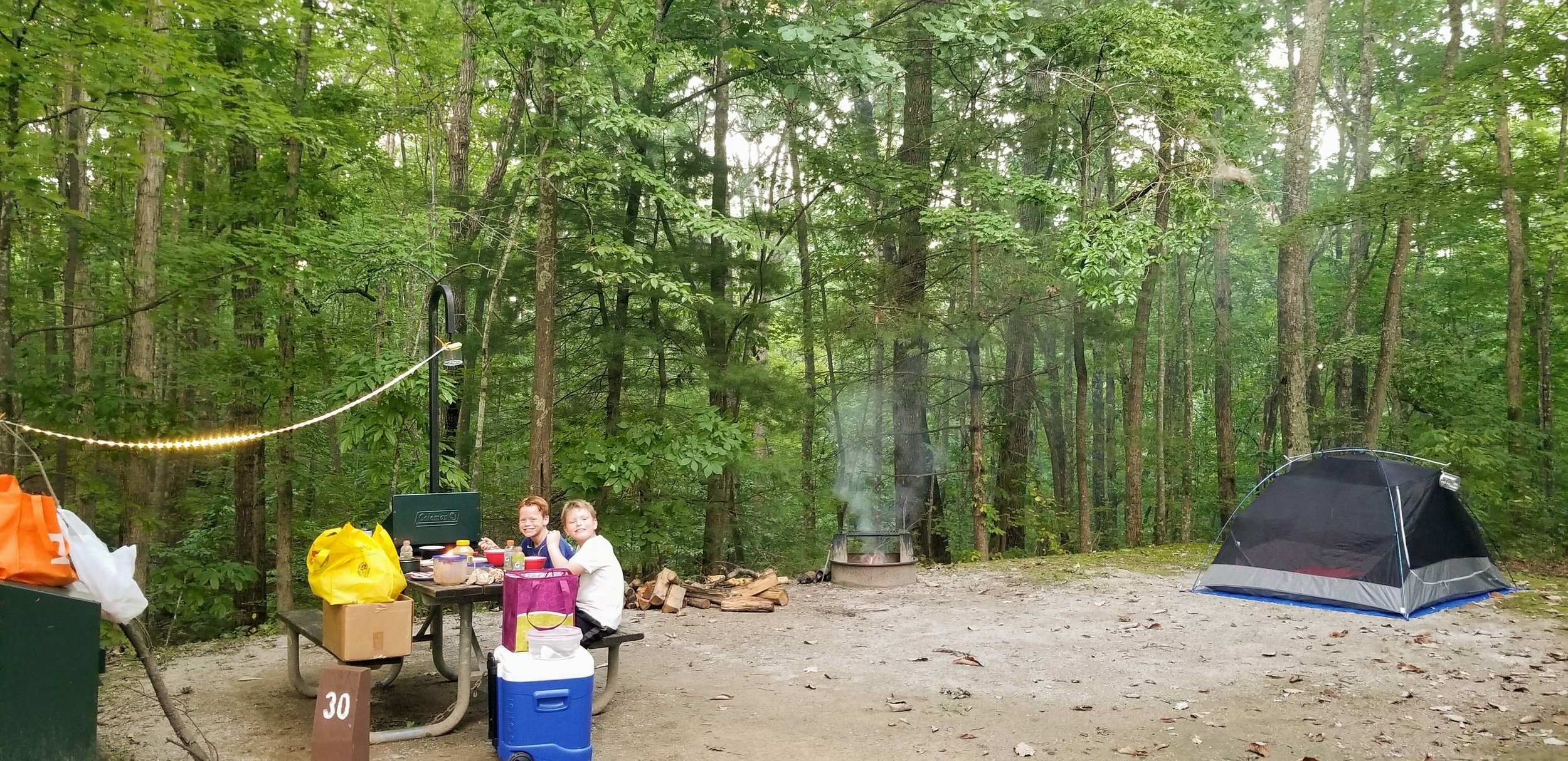 We love the big campsites and nice bathrooms at Bandy Creek Campground.