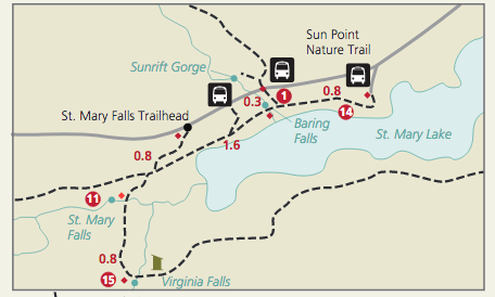 St Mary Falls Map
