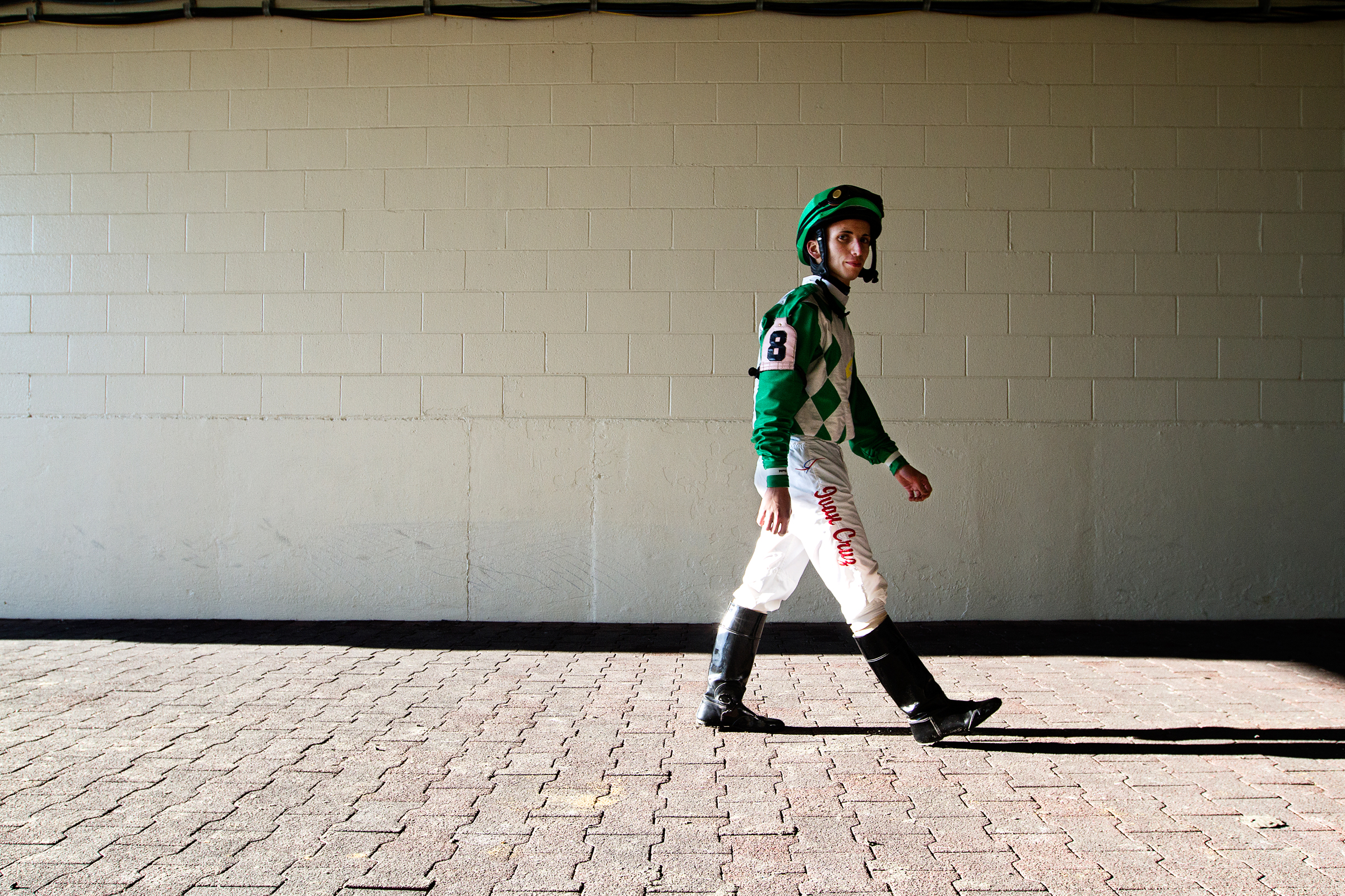 Horse Jockey Ivan Cruz exits the Keenland race course after finishing 7th overall while riding Uncle Ted October 10, 2012 at Keenland in Lexington, Ky. This is Ivan's first year of racing with 14 first places, 19 second places, and 25 third places with 202 starts all together.