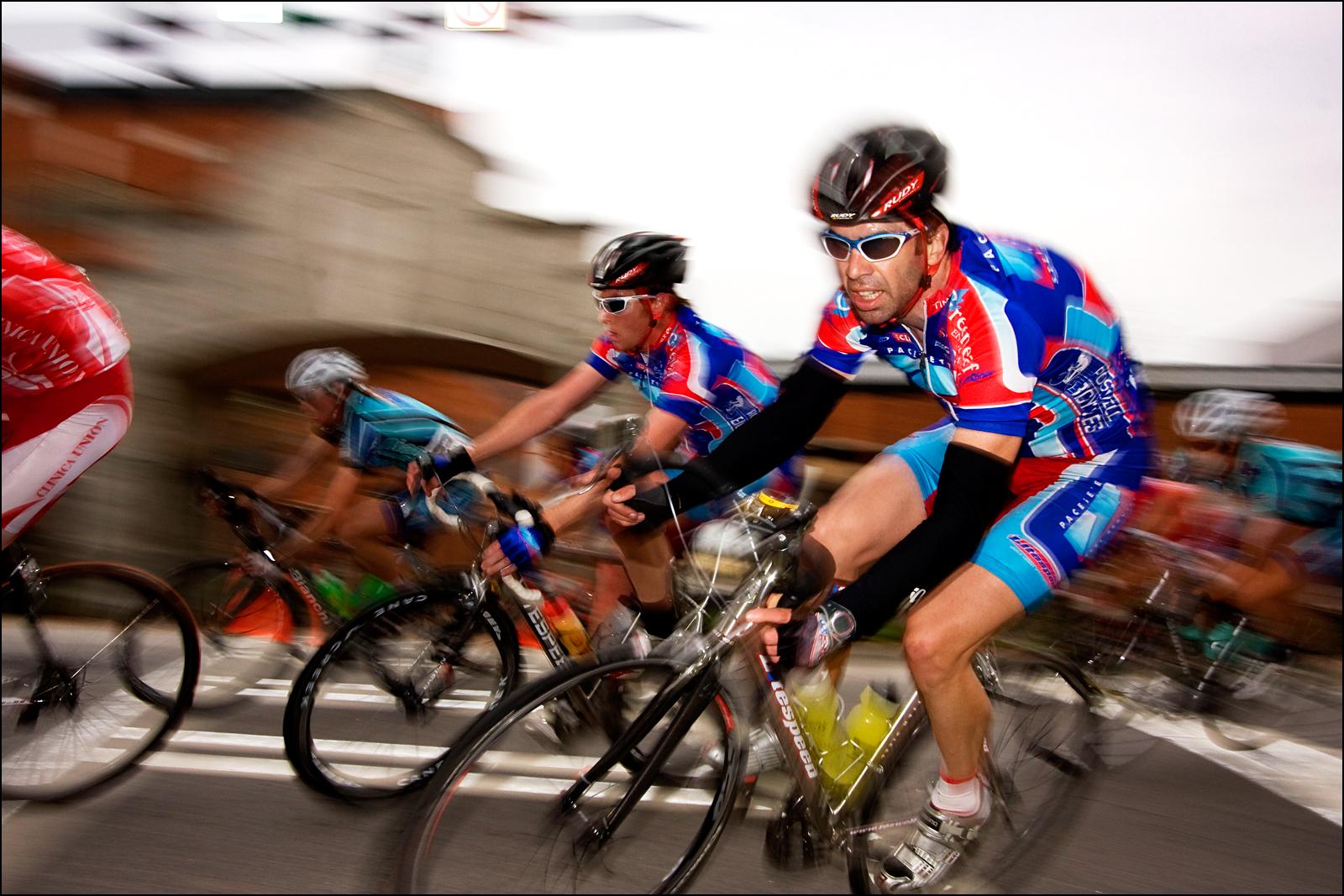 Bikers turn a corner of the Tour De Georgia bike race in Gainesville, GA.