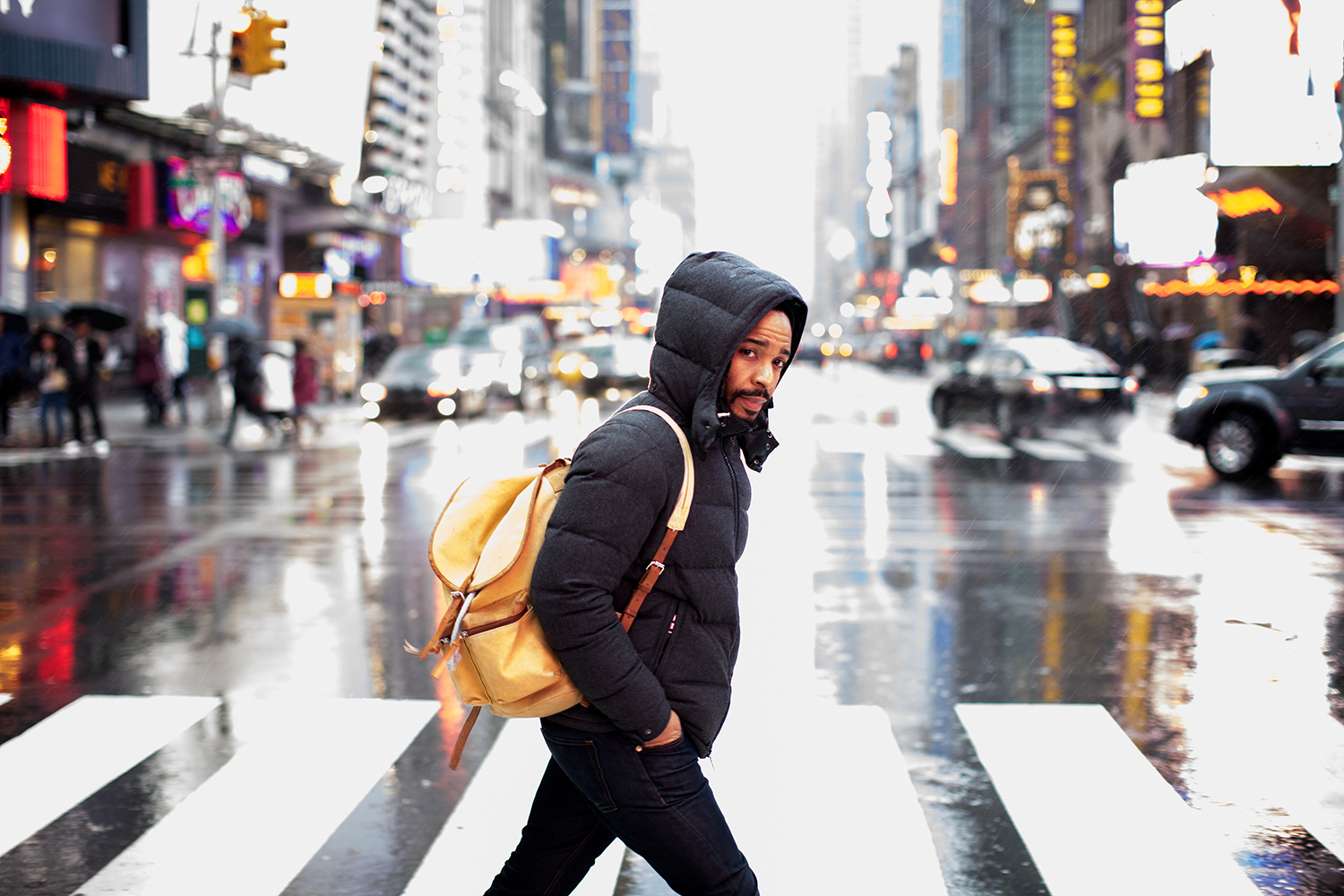 """The actor André Holland heading to the Samuel J. Friedman Theater in Manhattan, where he is starring in August Wilson's play """"Jitney."""" Demetrius Freeman for The New York Times"""