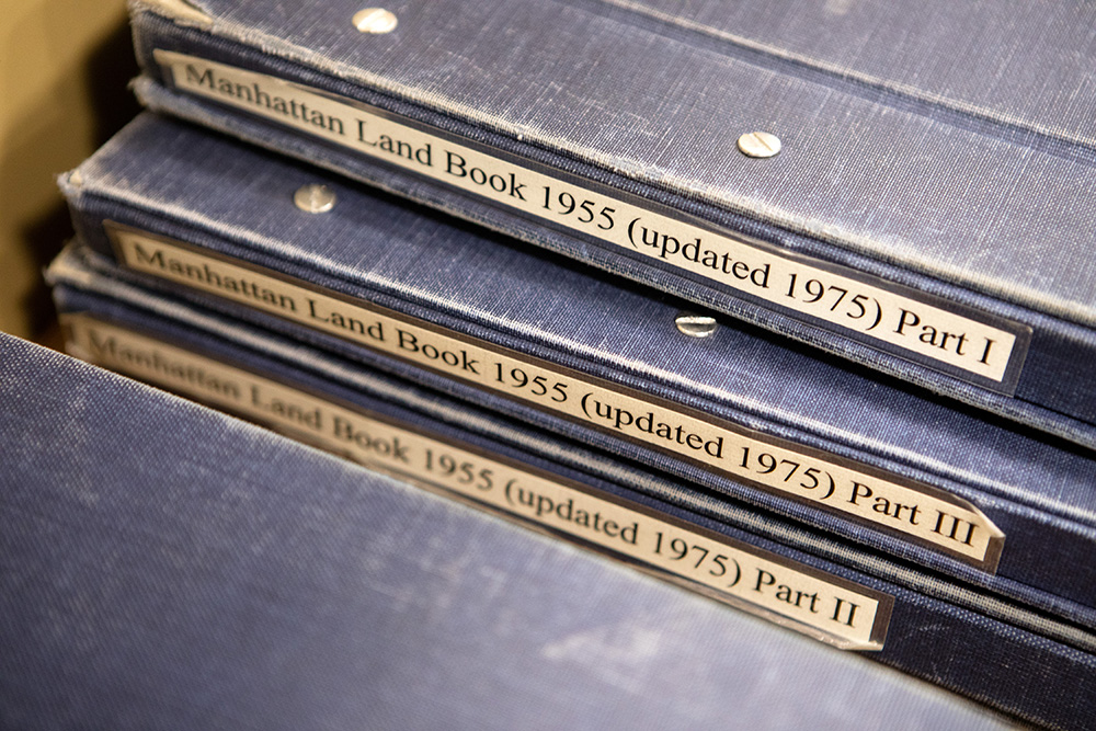 A collection of Manhattan Land Books inside of the Municipal Archives reference room at the New York City's Municipal Archives building in Manhattan.