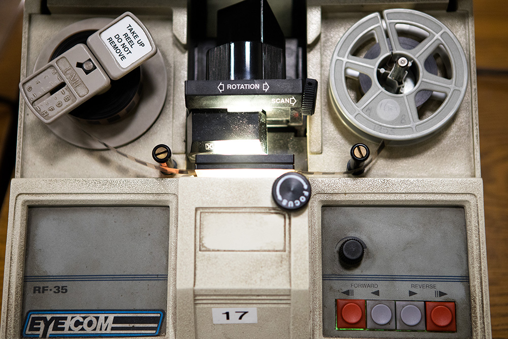Micro film machines inside of the Municipal Archives reference room at the New York City's Municipal Archives building in Manhattan.