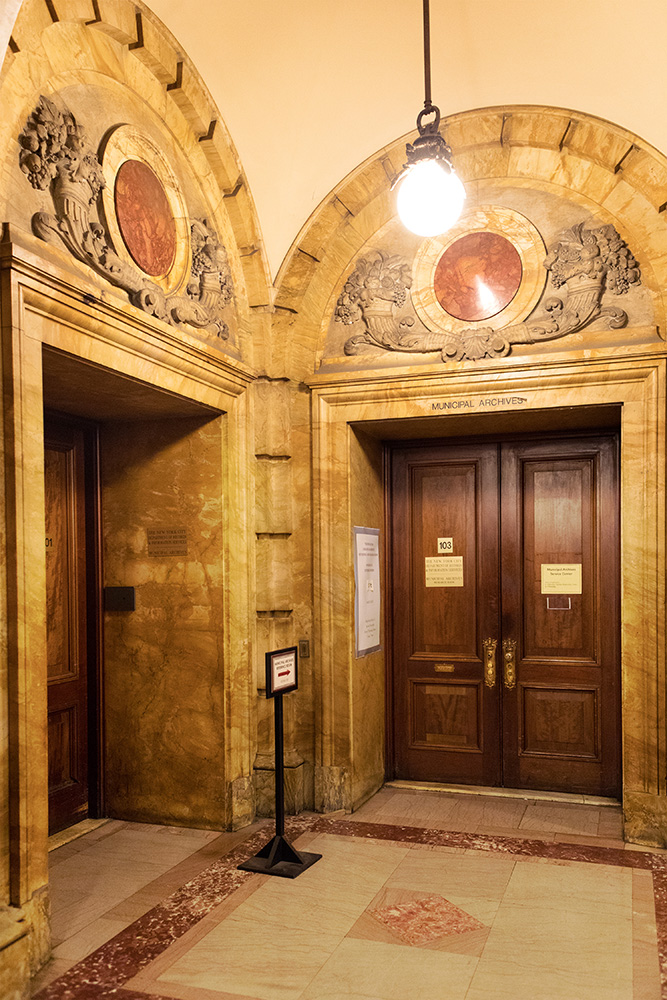The Municipal Archives reference room entrance.