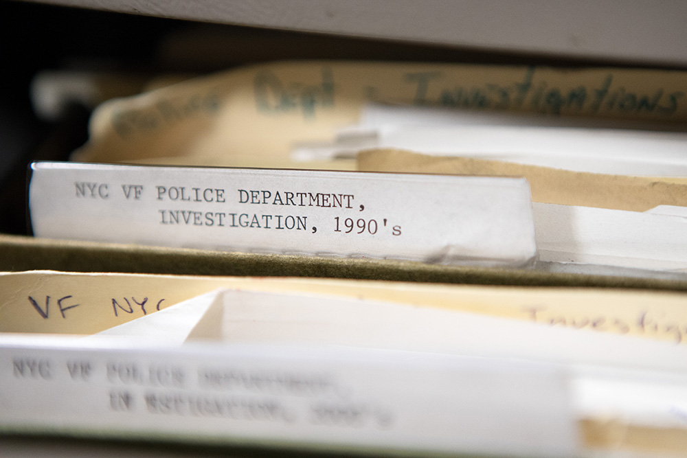The Municipal Archives reference library of documents from NYPD Investigations.