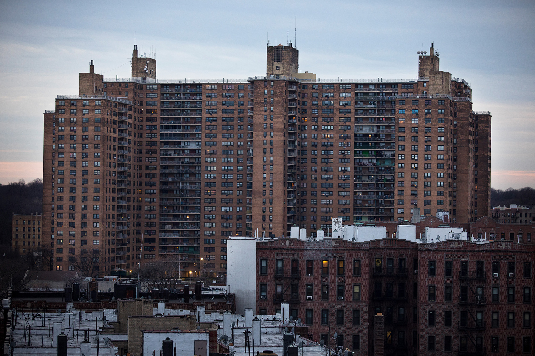 The view of the Ebbets Field Apartment complex. Ebbets Field Apartments opened in 1962 after the Brooklyn Dodgers moved to Los Angeles providing affordable housing for low income families.