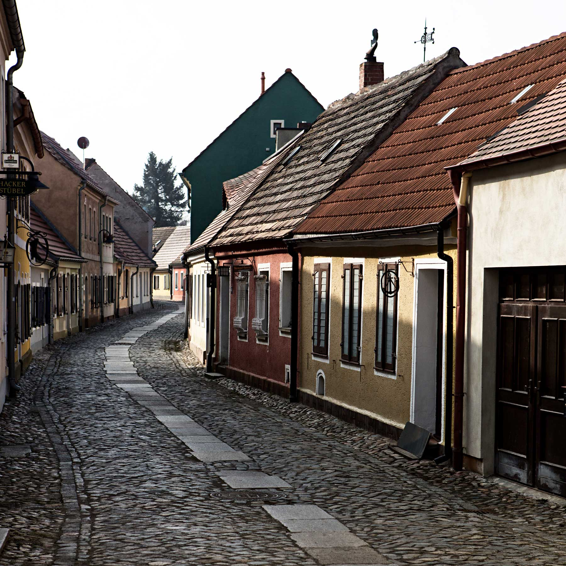 The main walking street in the old town of Hoyerswerda.