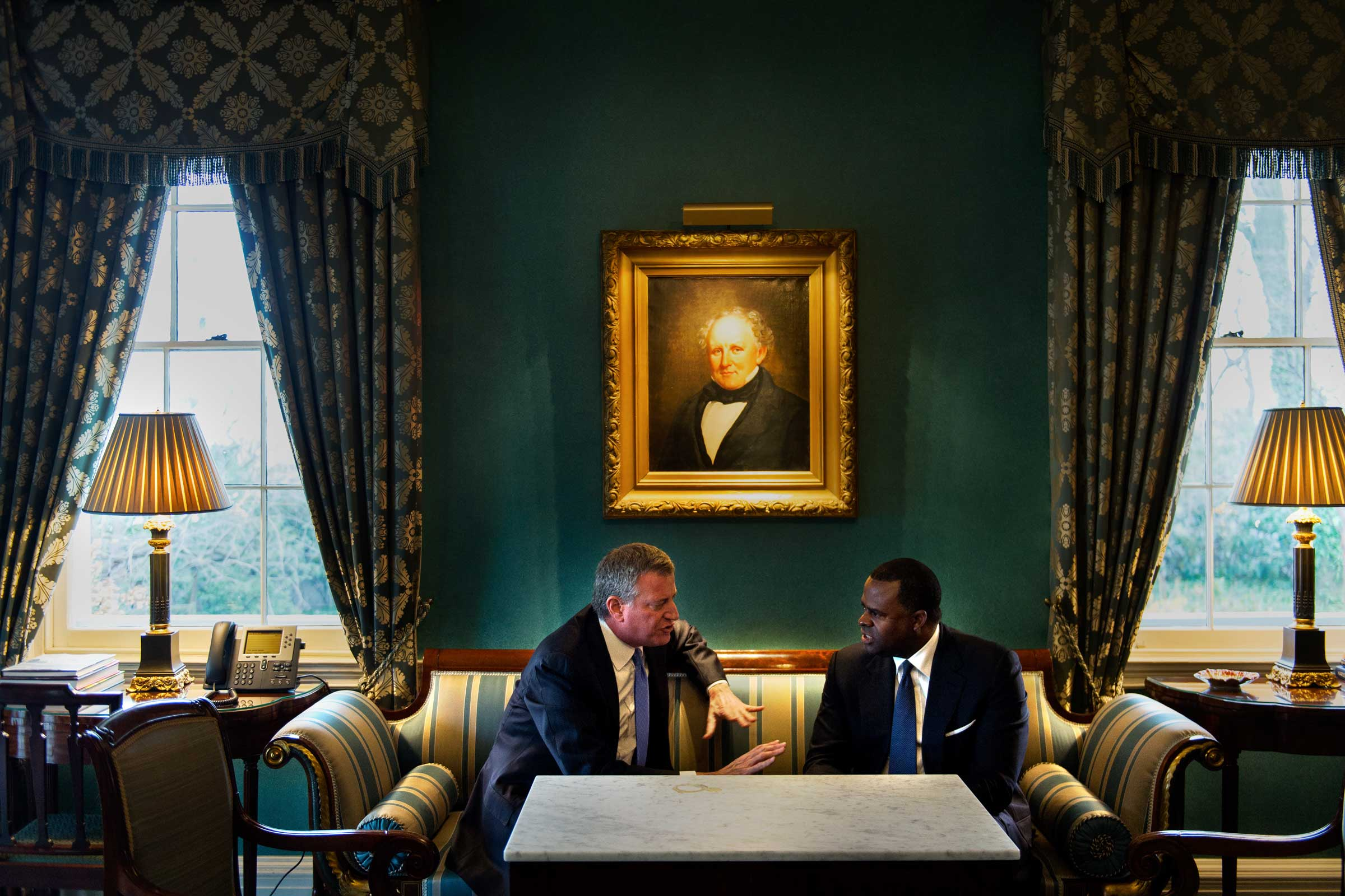 Meeting in the Green room with Atlanta Mayor Kasim Reed. Gracie Mansion, New York.
