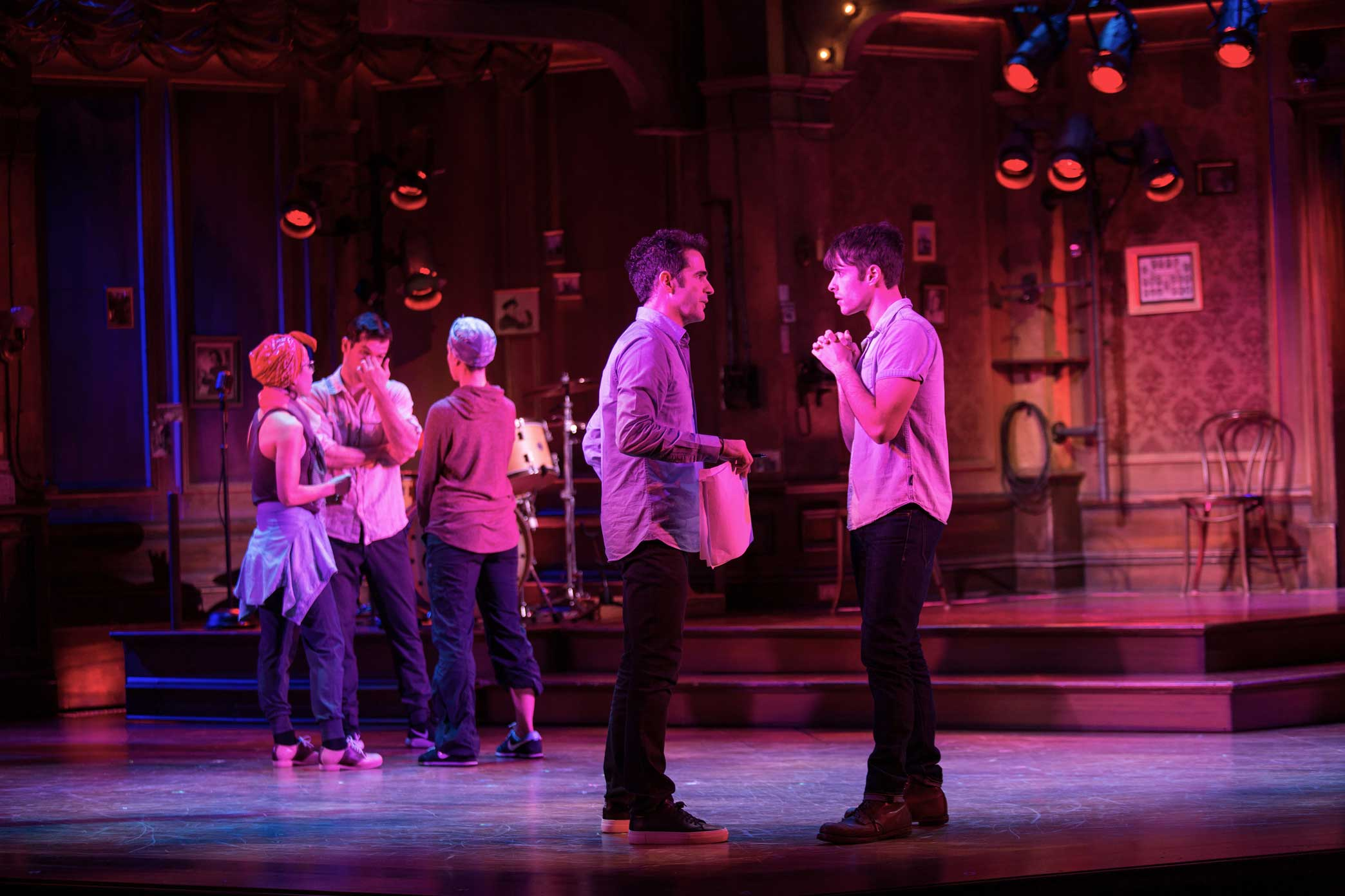 """Mr. Blankenbuehler, left, with the actor Corey Cott.  3:25 p.m.Mr. Blankenbuehler spent about six minutes chatting alone with Mr. Cott about a crucial scene early in """"Bandstand"""" that pivots on two words Mr. Cott's character says. The words were cut about two weeks ago but were recently restored."""