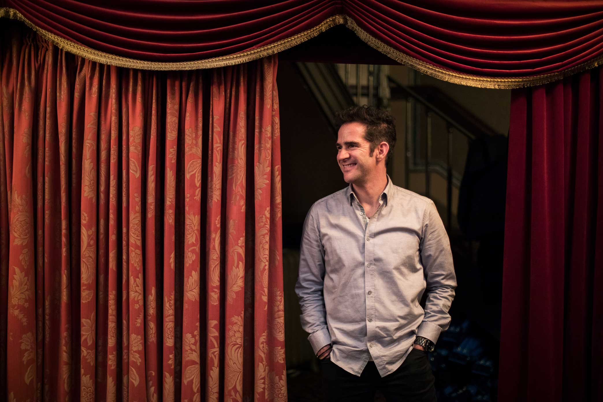 Mr. Blankenbuehler at the Jacobs Theater.  5:03 p.m., Mr. Blankenbuehler was sitting in the house, looking exhausted but smiling. He said he was satisfied that the show was in good shape.