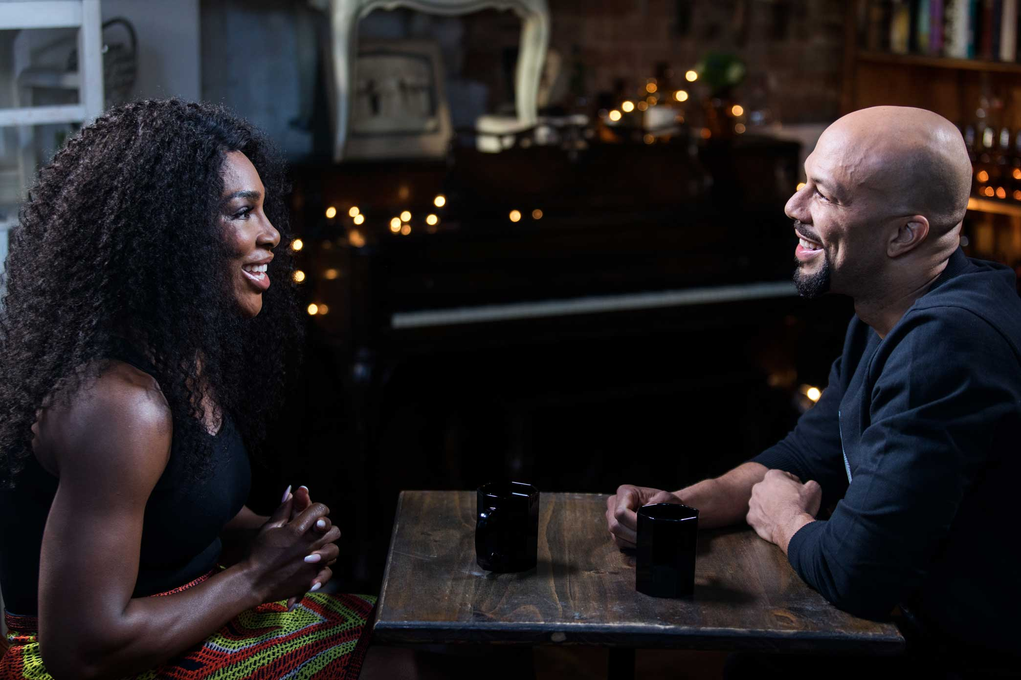 Rapper, actor and activist Common interviewed Serena Williams for The Undefeated at Urban Vintage cafe in Clinton Hill Brooklyn, New York.