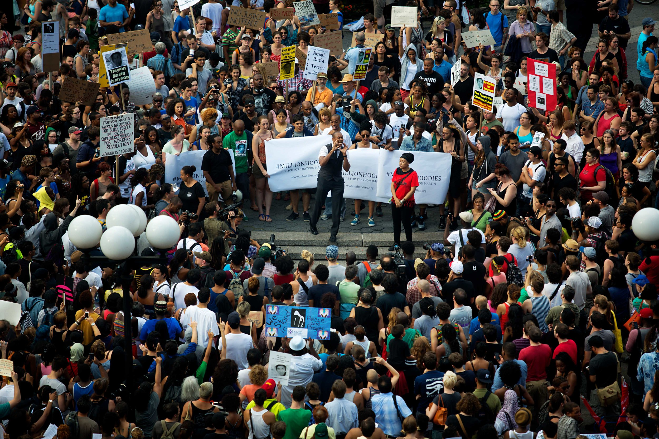 Over 1000 protesters gathered at Union Square Park New York, NY after the 'not guilty' verdict was announced in the case of George Zimmerman.