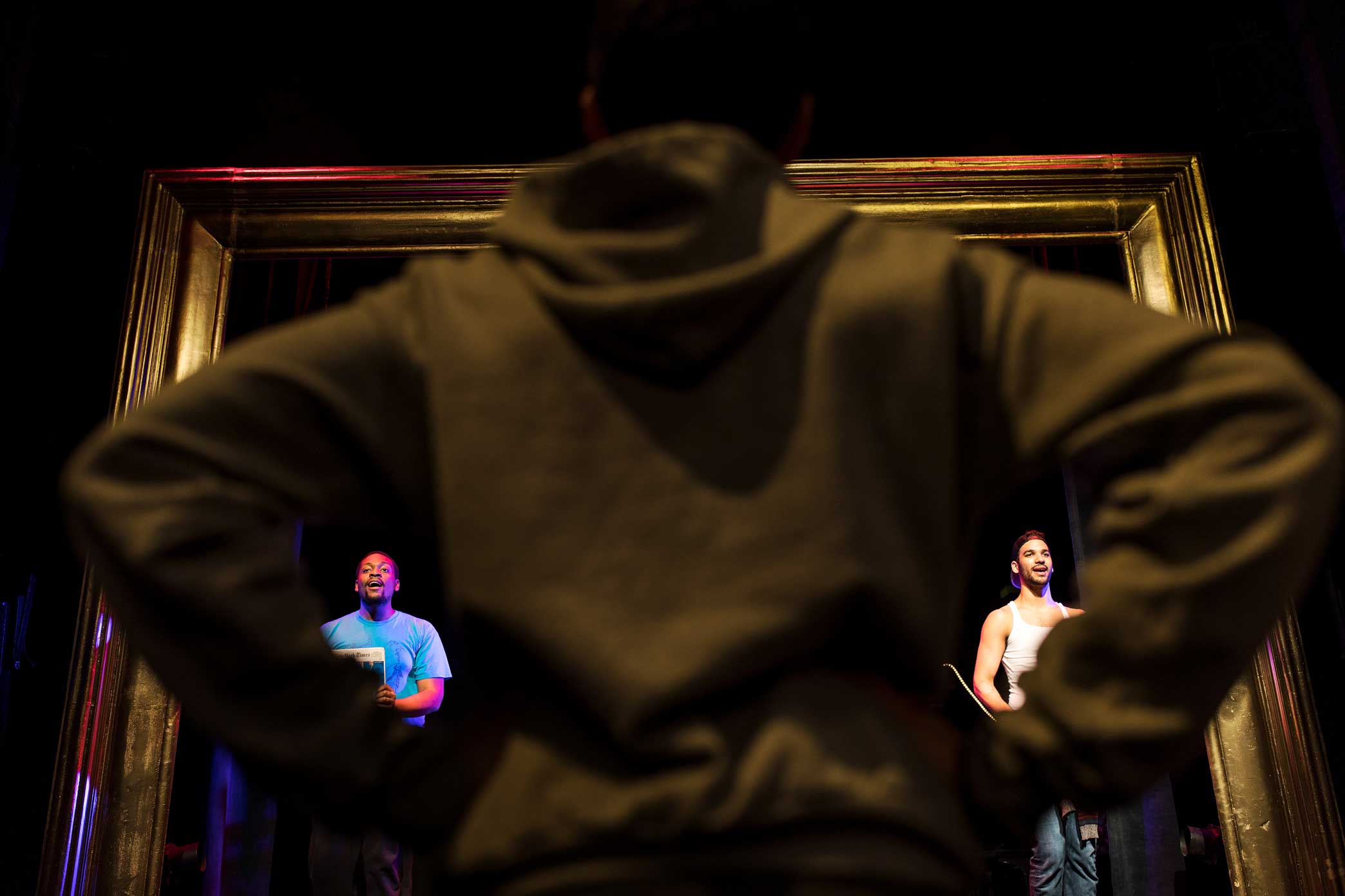 """Dan Rosales, foreground, with Aaron Michael Ray, left and Tristan J. Shuler at a rehearsal of """"Spamilton."""""""