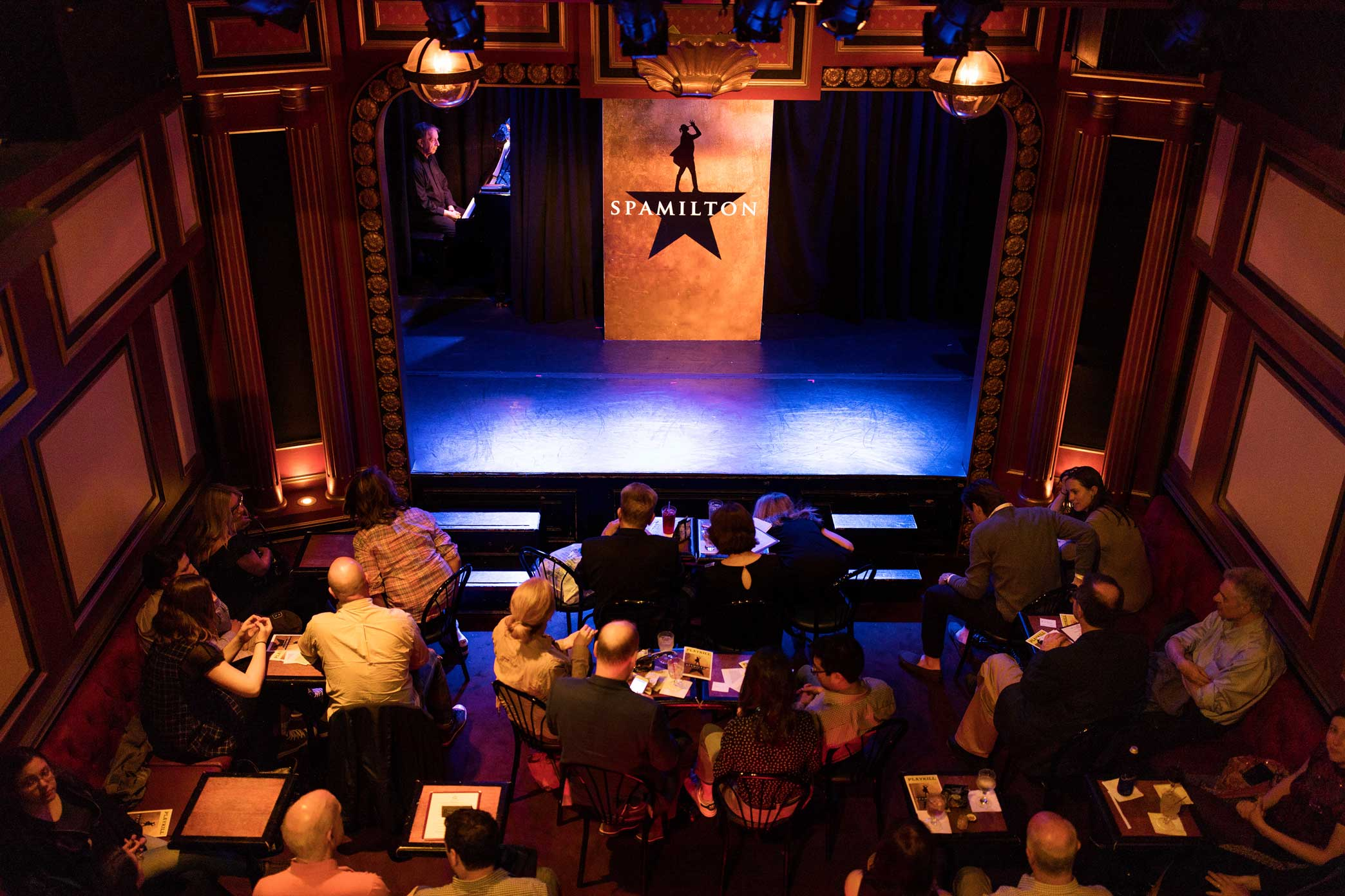 Audience members waiting for the start of Spamilton: An American parody and musical of the Broadway show Hamilton at The Triad in Manhattan.