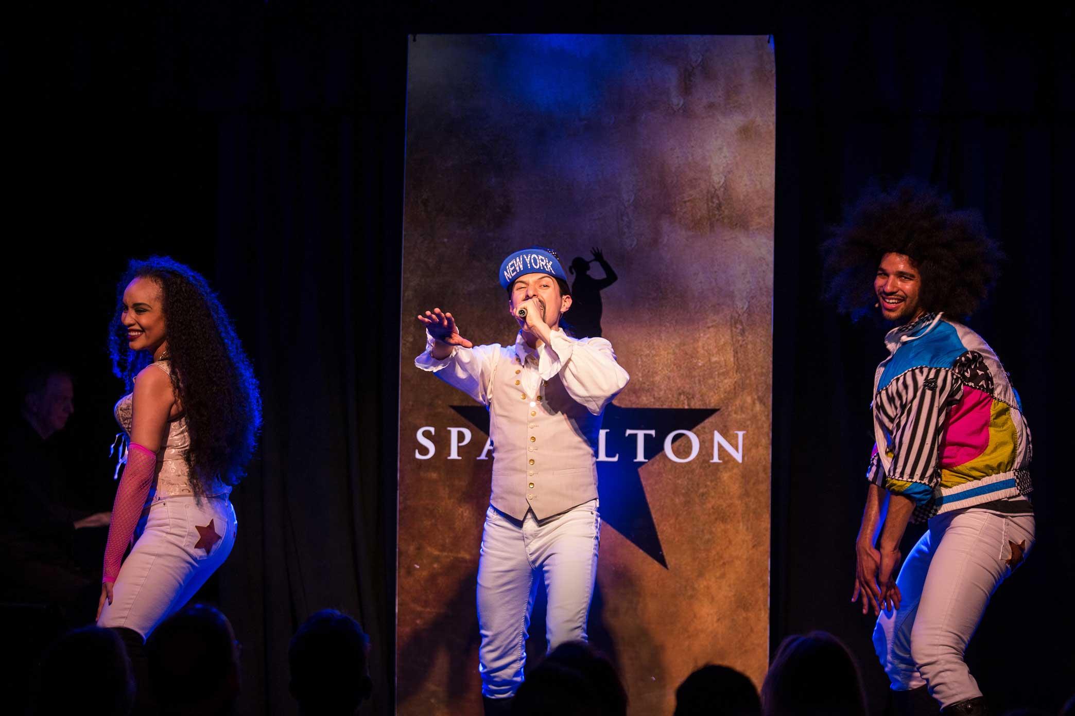 "From left, Nicole Vanessa Ortiz, Dan Rosales and Tristan J. Shuler in ""Spamilton."""