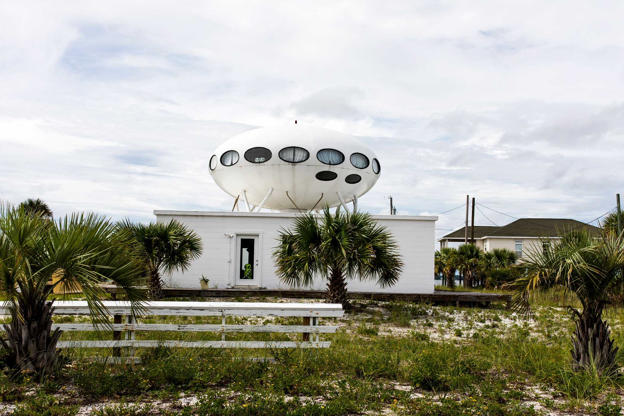 The Futuro UFO Spaceship House in Pensacola, Florida. This is one of at least 64 spaceship houses,called Futuros. They are located everywhere from Los Angeles to Antarctica. Read more  here  and see a map of the locations  here .  Canon 5D Mark IV
