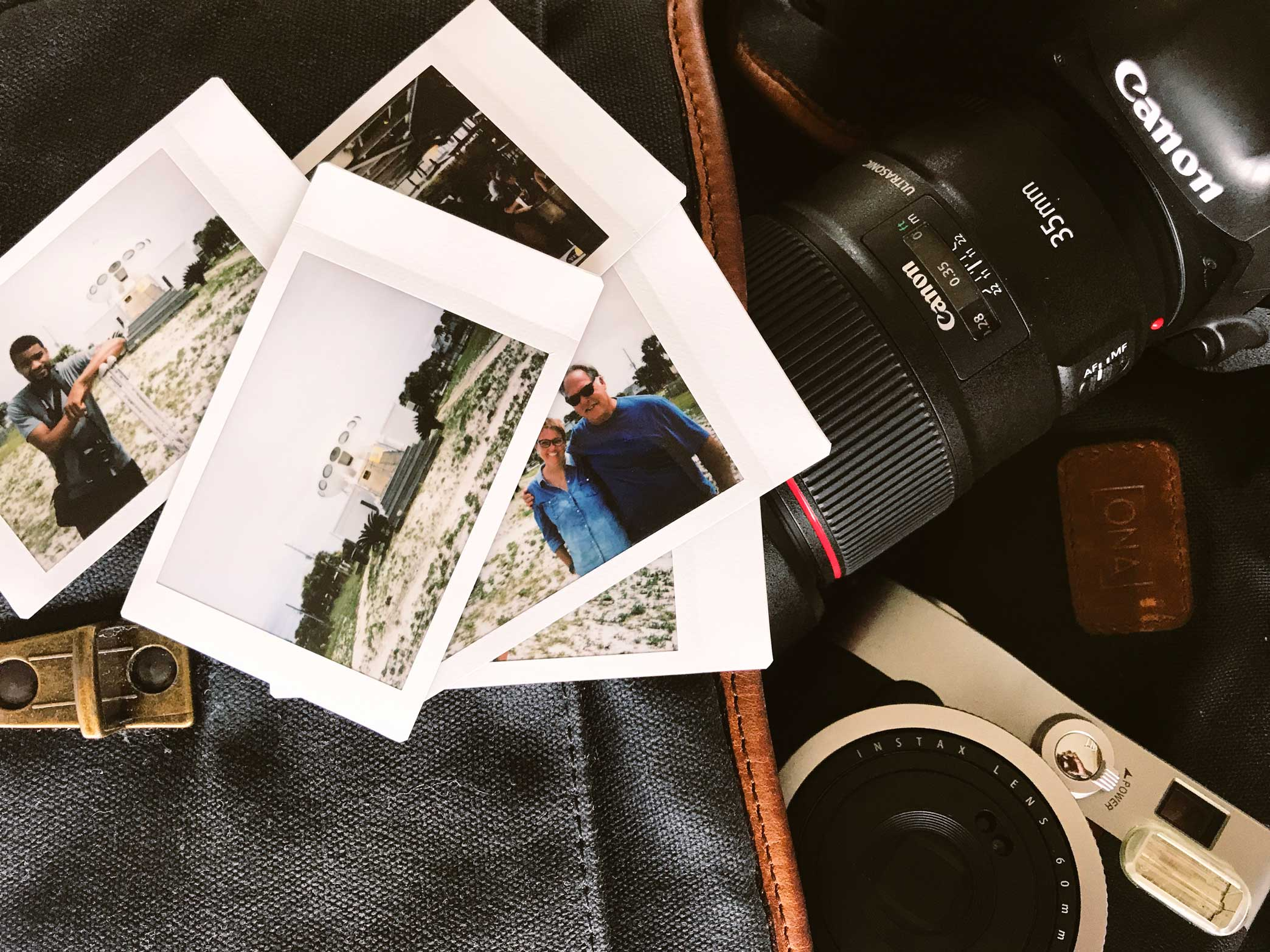 Ona Bag, Canon 5D Mark IV, and Fujifilm Instax Mini 90.