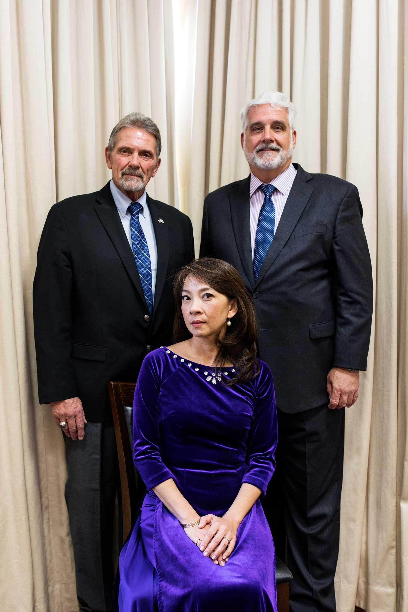 """Lauren Vuong with Dan Hanson, left, and Ken Nelson, during reunion of Vietnamese refugees known as the """"boat people"""" and some of the seamen who had rescued them.    Story link  here ."""