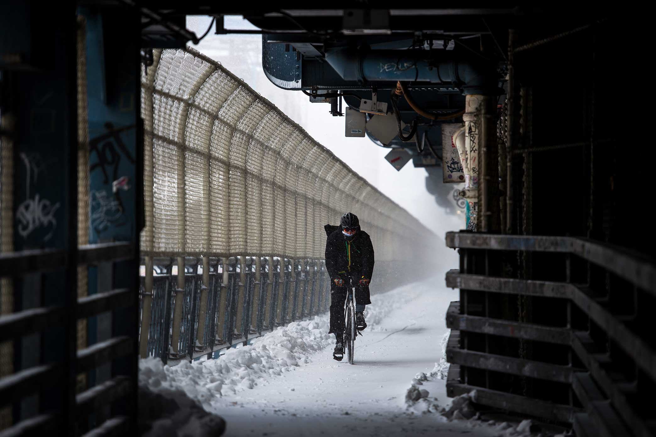 Manhattan Bridge. NYC Snow Storm. Manhattan, NY. 2018