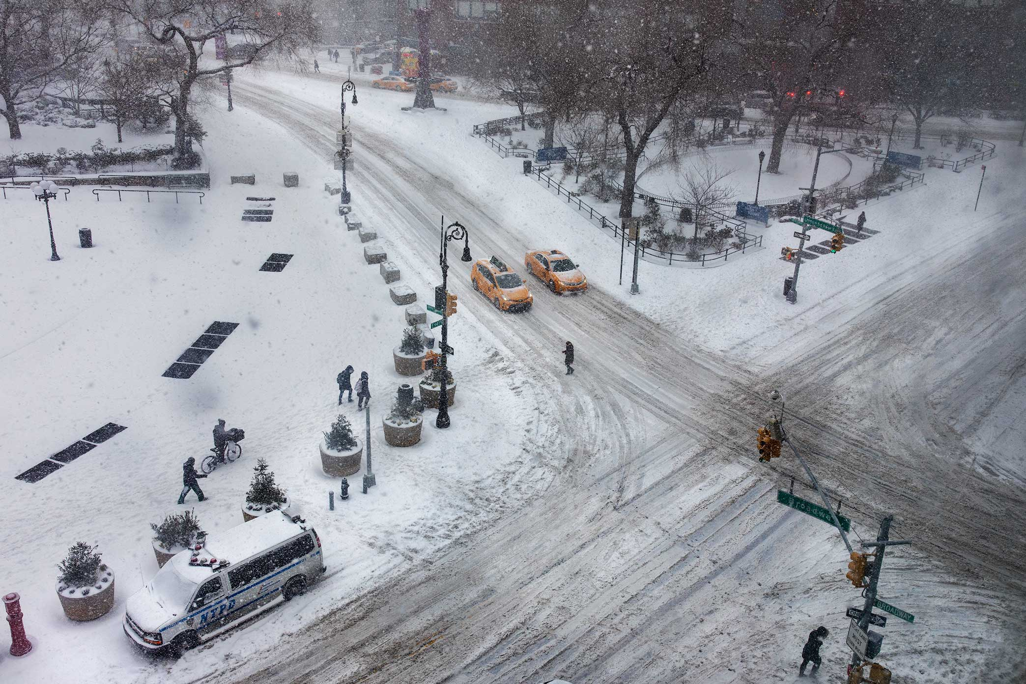 Union Square Park. NYC Snow Storm. Manhattan, NY. 2018