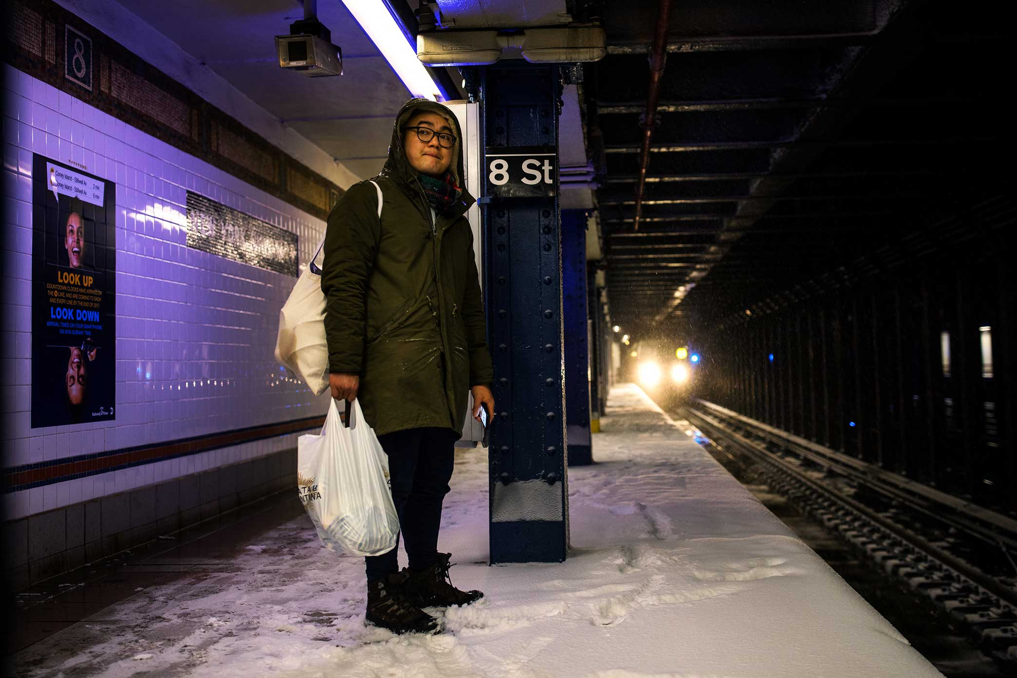 NYC Subway. NYC Snow Storm. Manhattan, NY. 2018