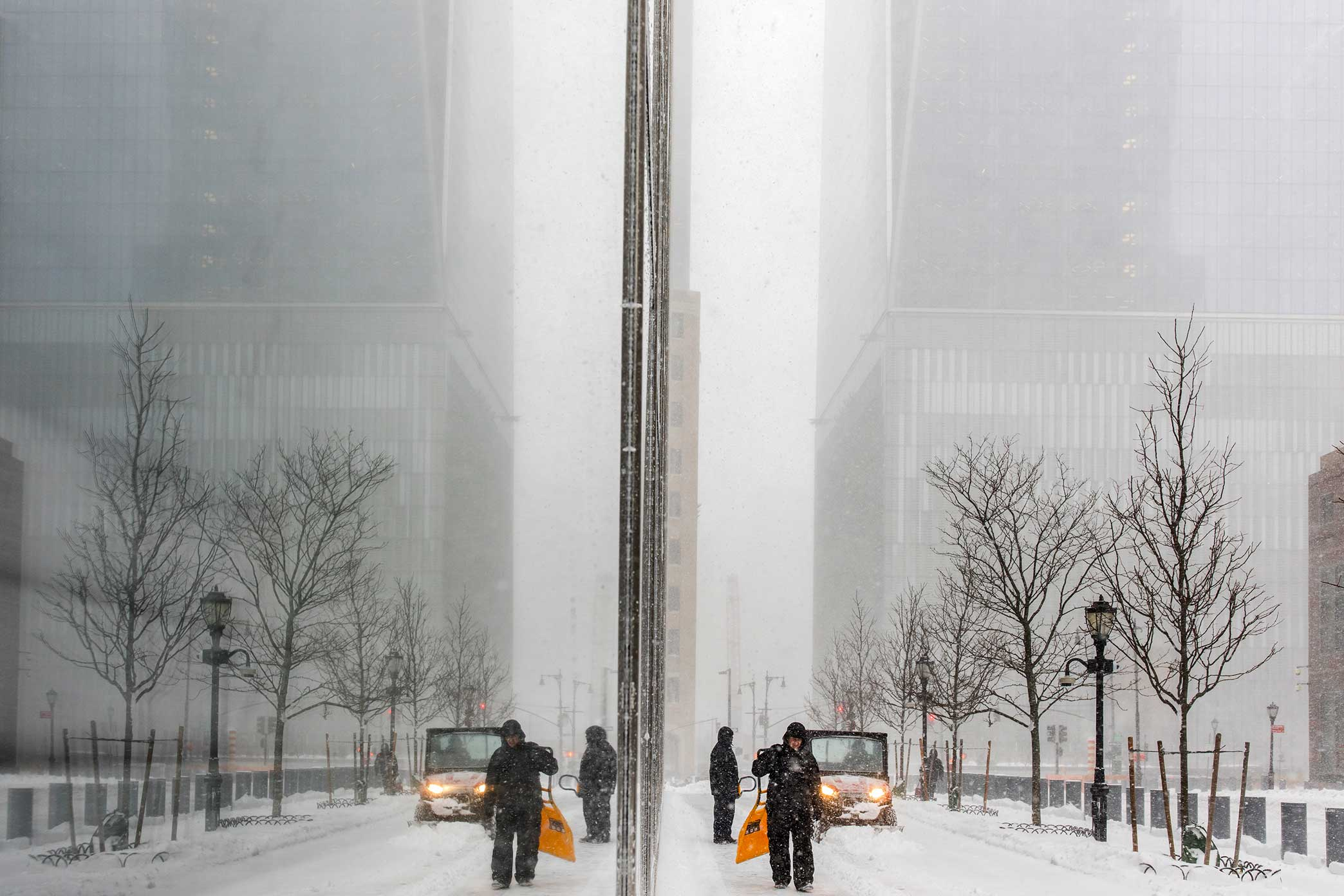 One World Trade Center. NYC Snow Storm. Manhattan, NY. 2018