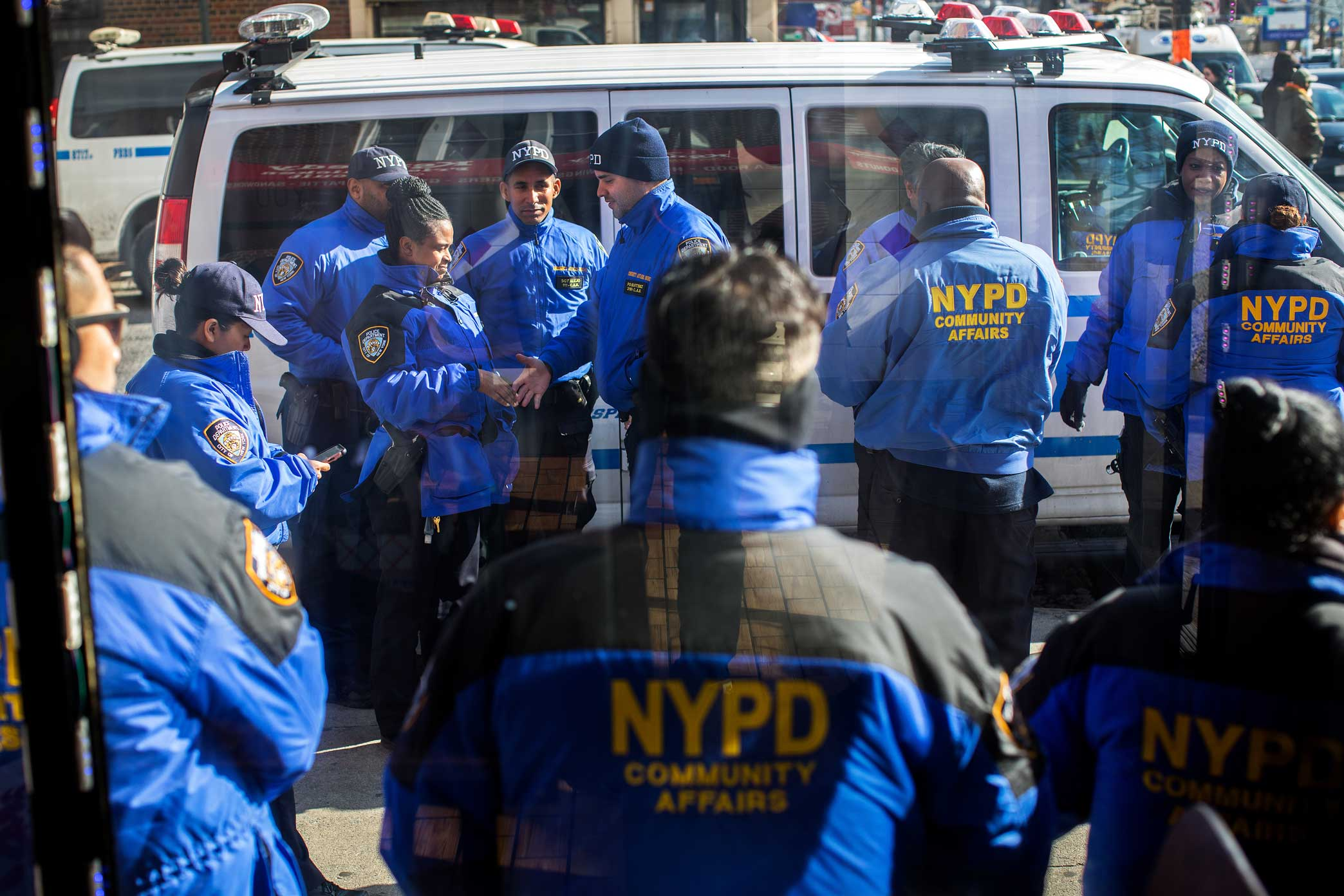 NYPD Community Affairs Officers gather for crowd control during the protest and Candle light vigil for Saheed Vassell in Brooklyn.