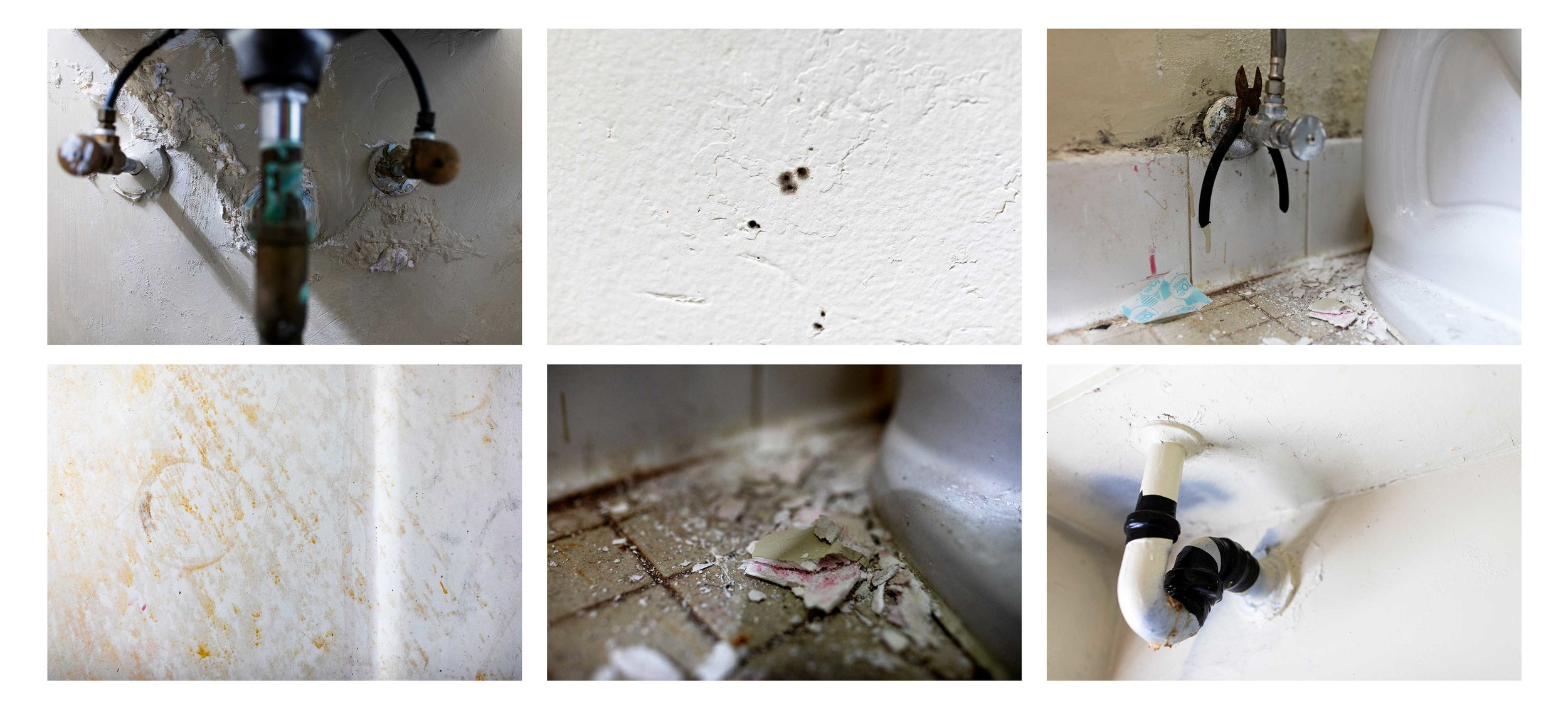 Details of damage in the Ramirezes' apartment include leaking pipes in the bathroom ceiling and under the bathroom sink, as well as mold spots and rust stains on the walls and peeling paint on the floor.