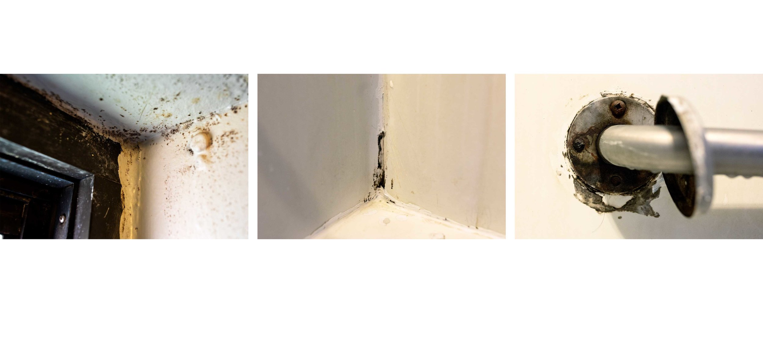 Details of damage in Garcia's apartment show mold on the walls and peeling paint.