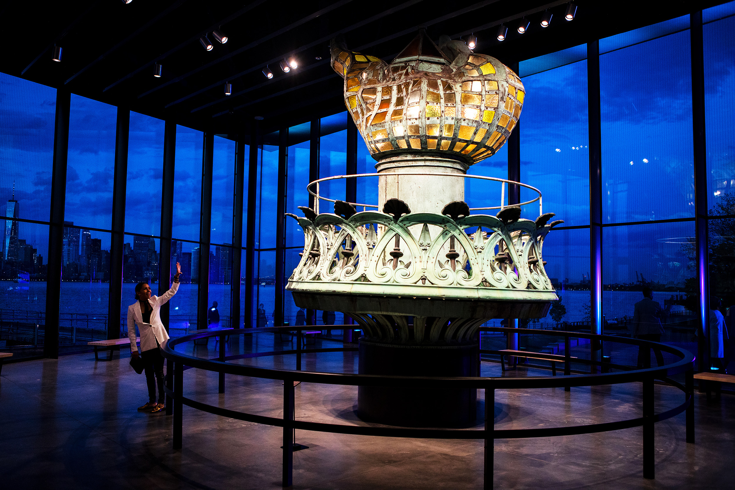 The original torch on display at the Statue of Liberty Museum on Liberty Island in New York, U.S.. The event feature keynote address from Oprah Winfrey and performances by Gloria Estefan and Tony Bennett.