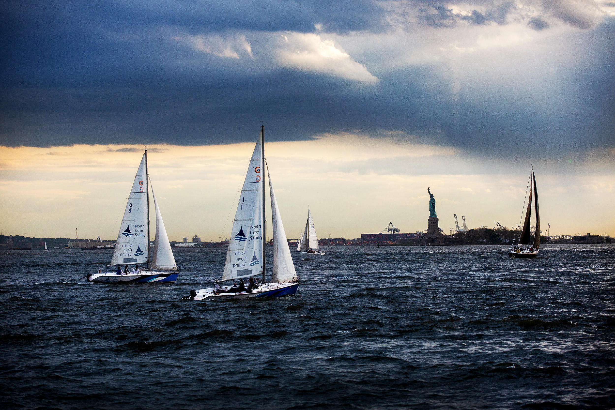 Sailors enjoy the view of the Statue of Liberty in New York, U.S..