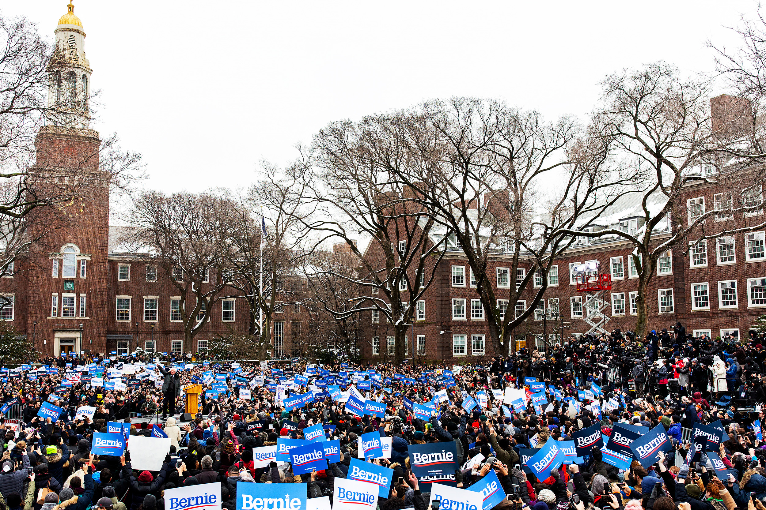 US Senator Bernie Sanders addresses a rally to kick off his 2020 US presidential campaign at Brooklyn College. Brooklyn, New York.