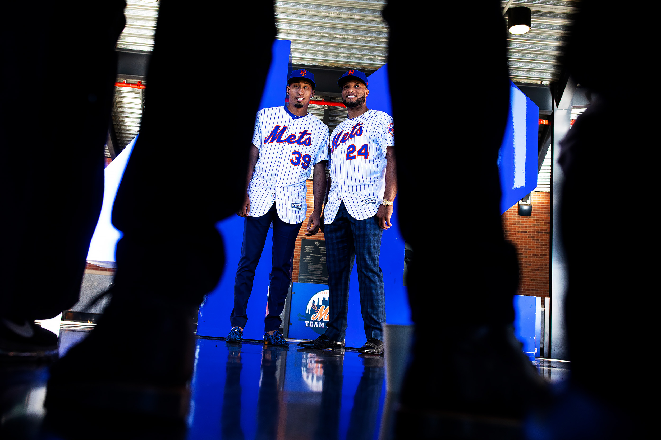 The New York Met Robinson Cano and Edwin Diaz pose in front of the iconic Jackie Robinson 42 statue at Citi Field. Flushing, New York.