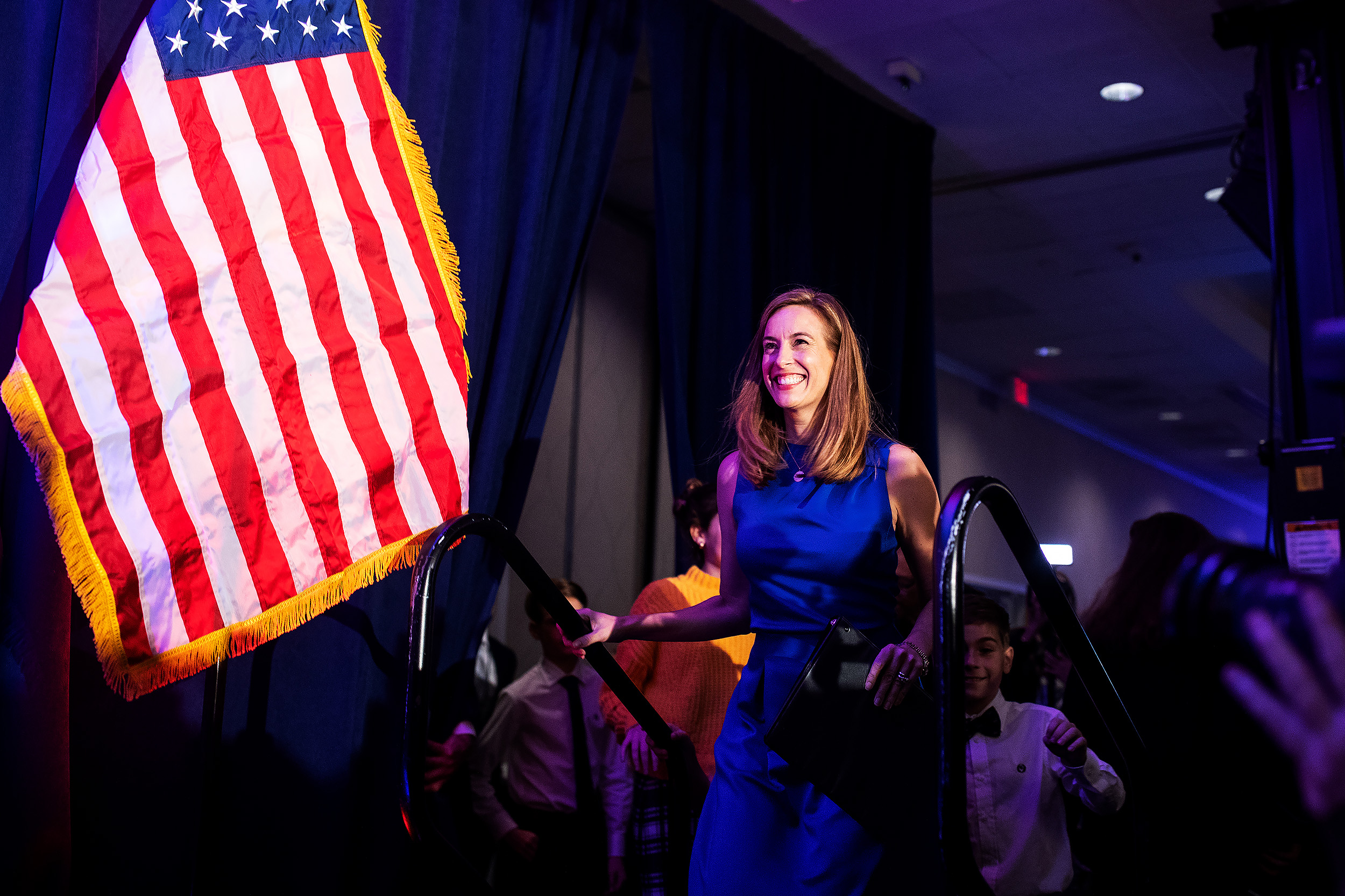 Democratic Candidate for New Jersey's 11th congressional District Mikie Sherrill celebrate at a watch party in Parsippany, New Jersey.
