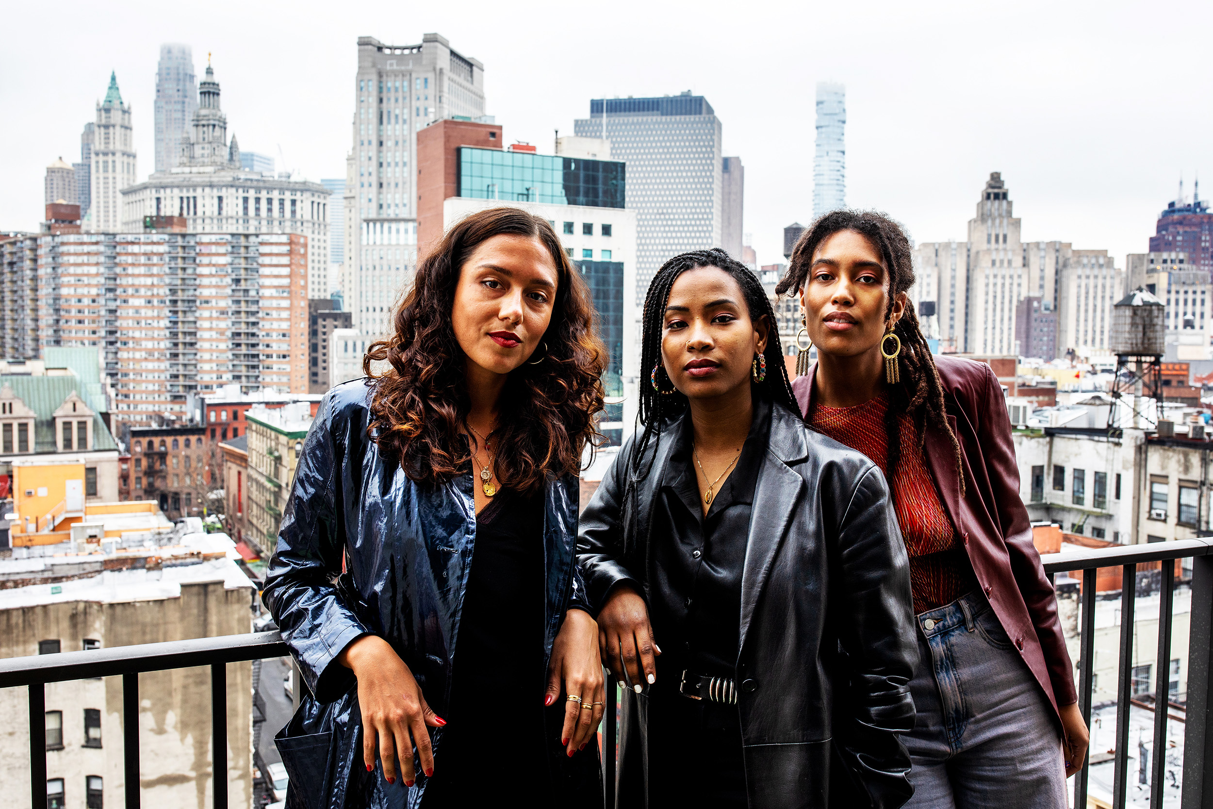Left to right: Founders of CHROMA, June Canedo, Ladin Awad, and Sienna Fekete in Manhattan, New York. CHROMA is a cross-disciplinary creative studio with intentions to diversify creative industries.
