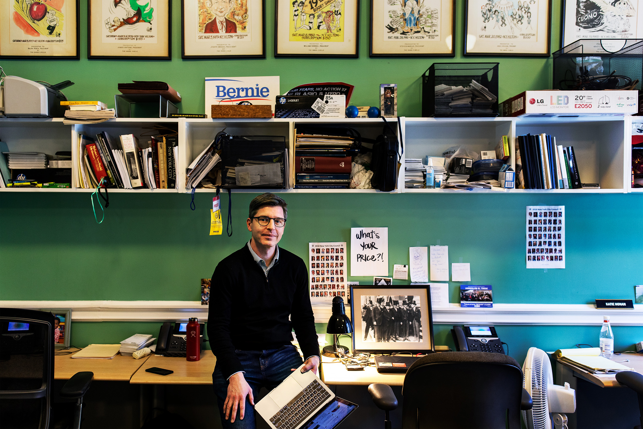 Times Metro reporter David Goodman at his press room desk in City Hall, New York.