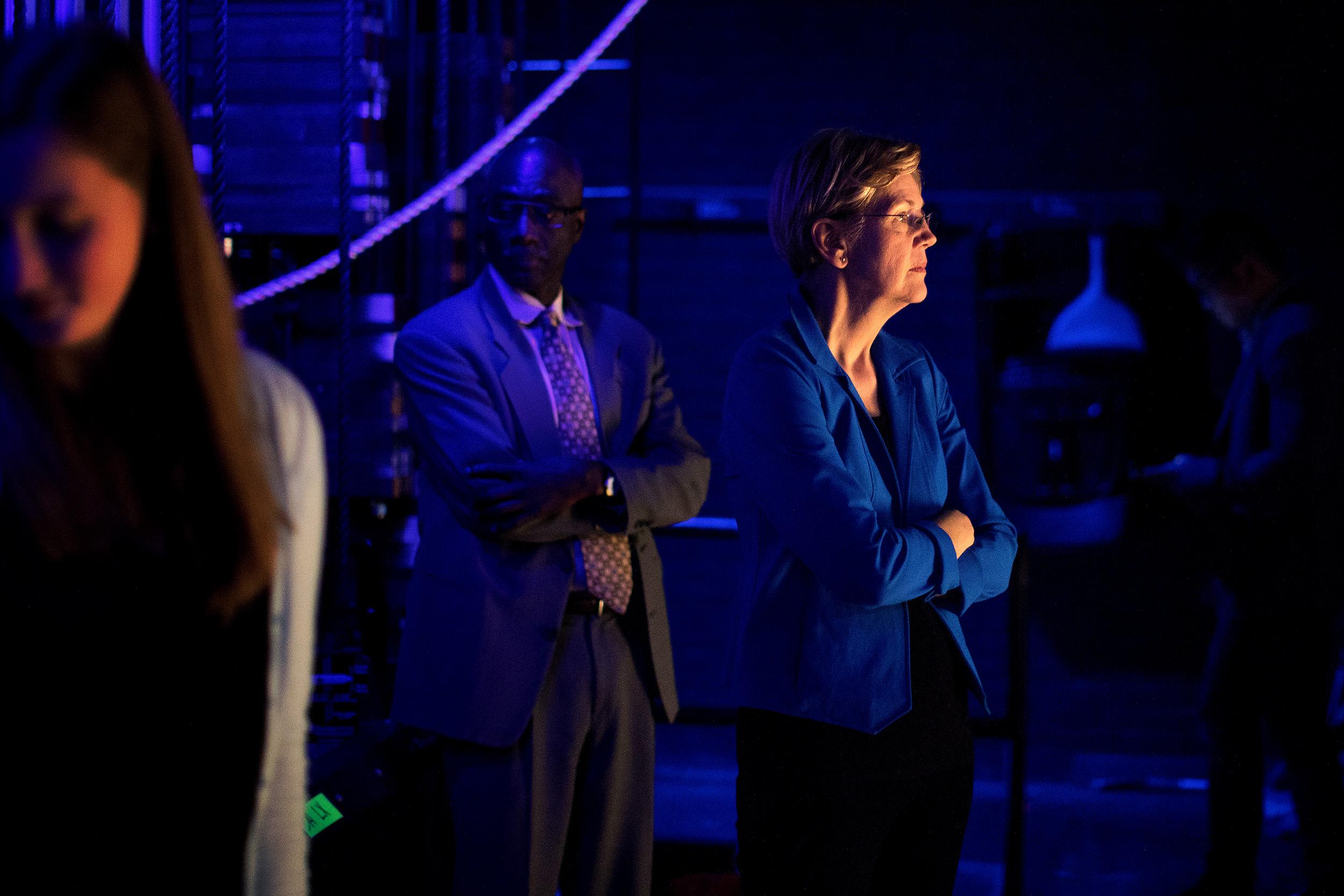 Elizabeth Warren back stage before her campaign speech.