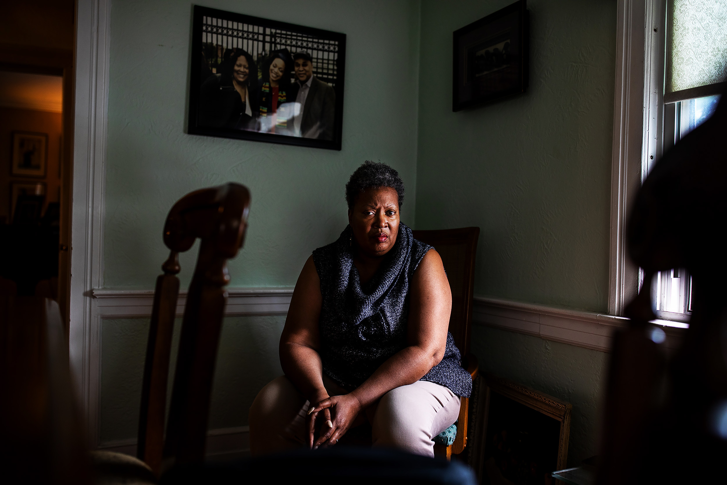 Yvette Jordan, a founding member of the NEW Caucus, at home in Newark's South Ward. Jordan, a teacher, included a lesson on environmental justice in a recent class, in which she discussed the lead in Newark's water and shared articles from Flint to help students understand the links.