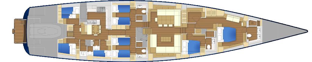Yacht Farfalla Drawings Interior