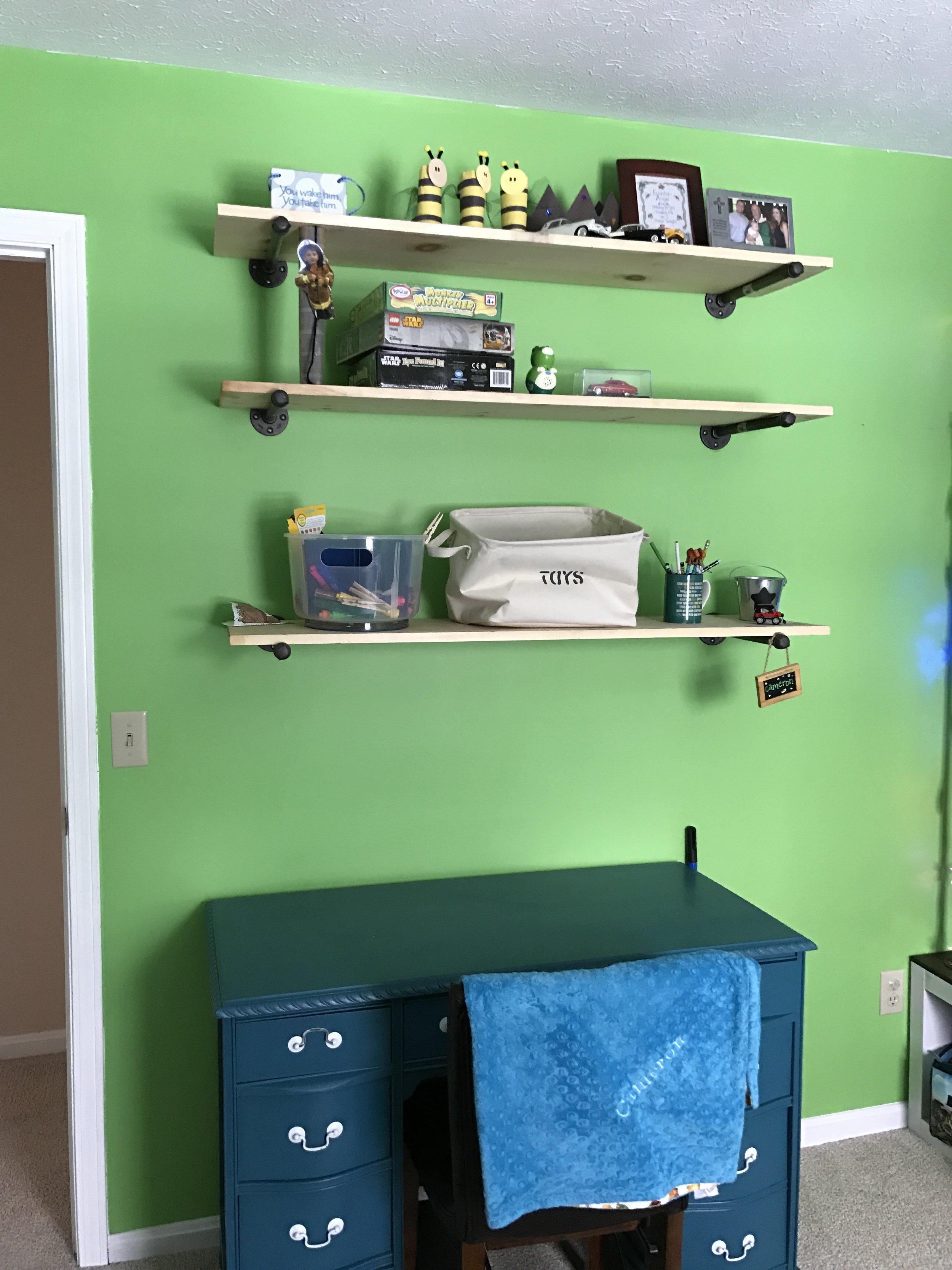 Rustic inspired above the desk shelves