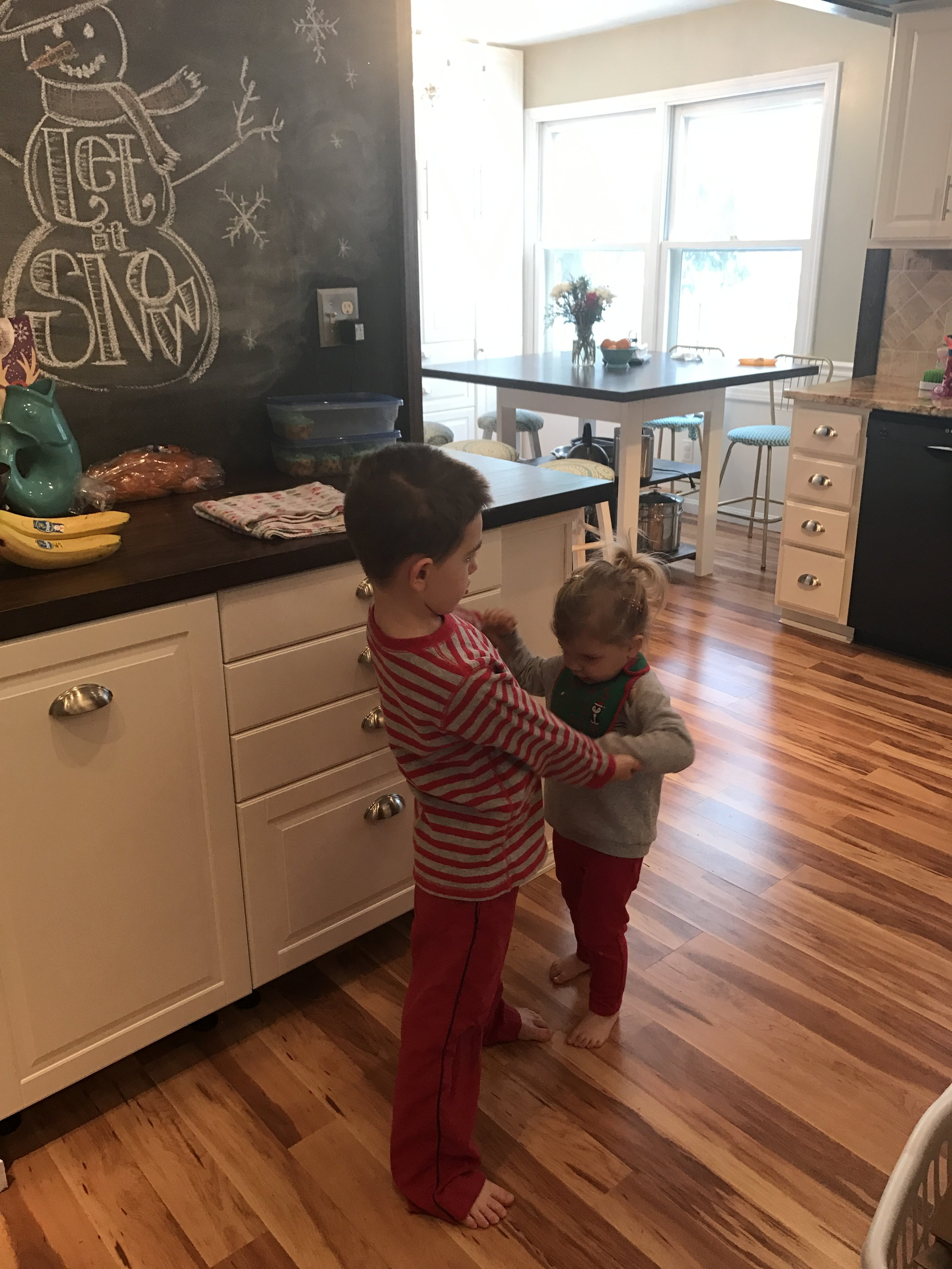 A kitchen dance party from over break