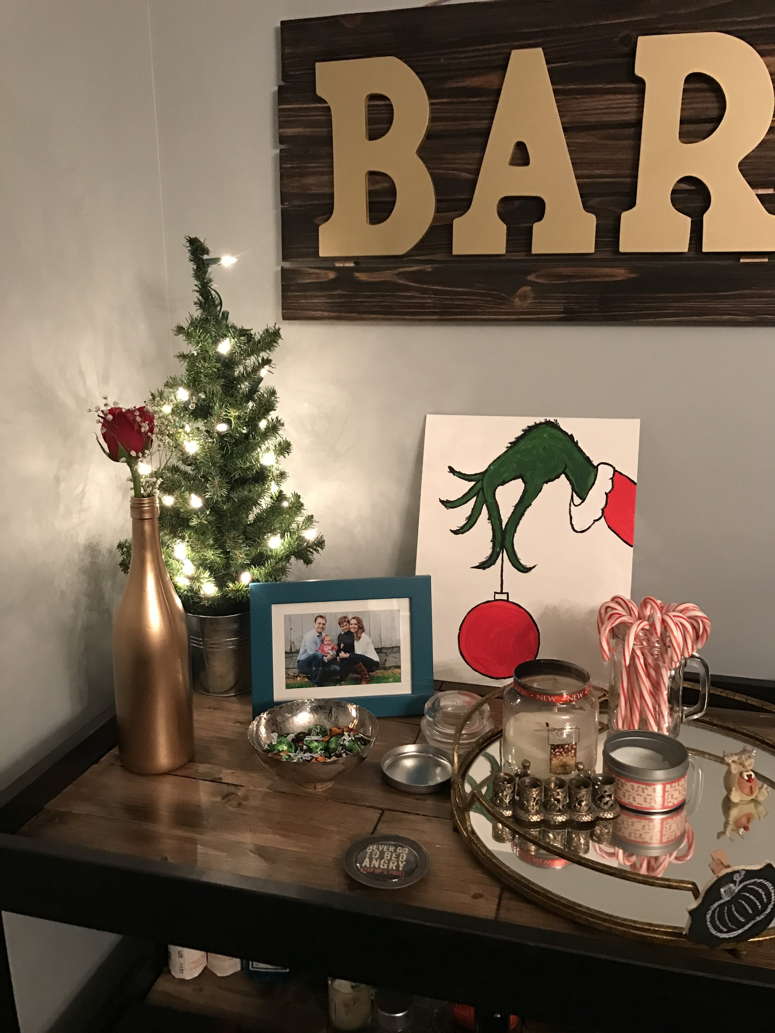 Decorated at Christmas. Christmas is my favorite holiday of all.