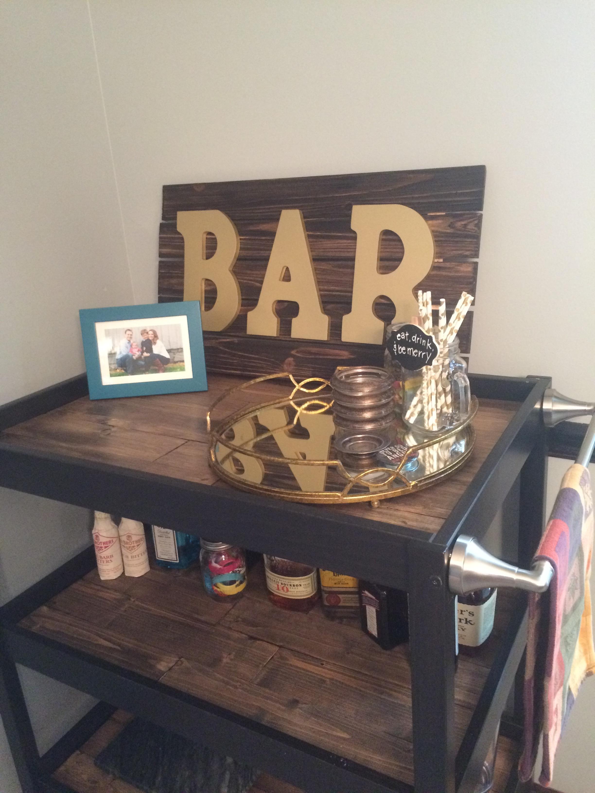 Newly finished bar cart!