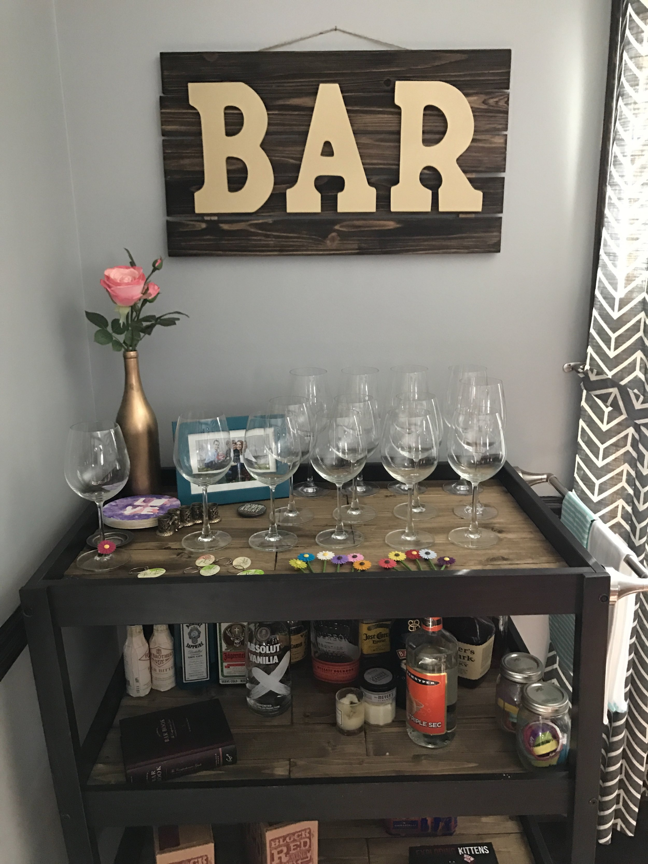 Wine tasting on our bar cart!