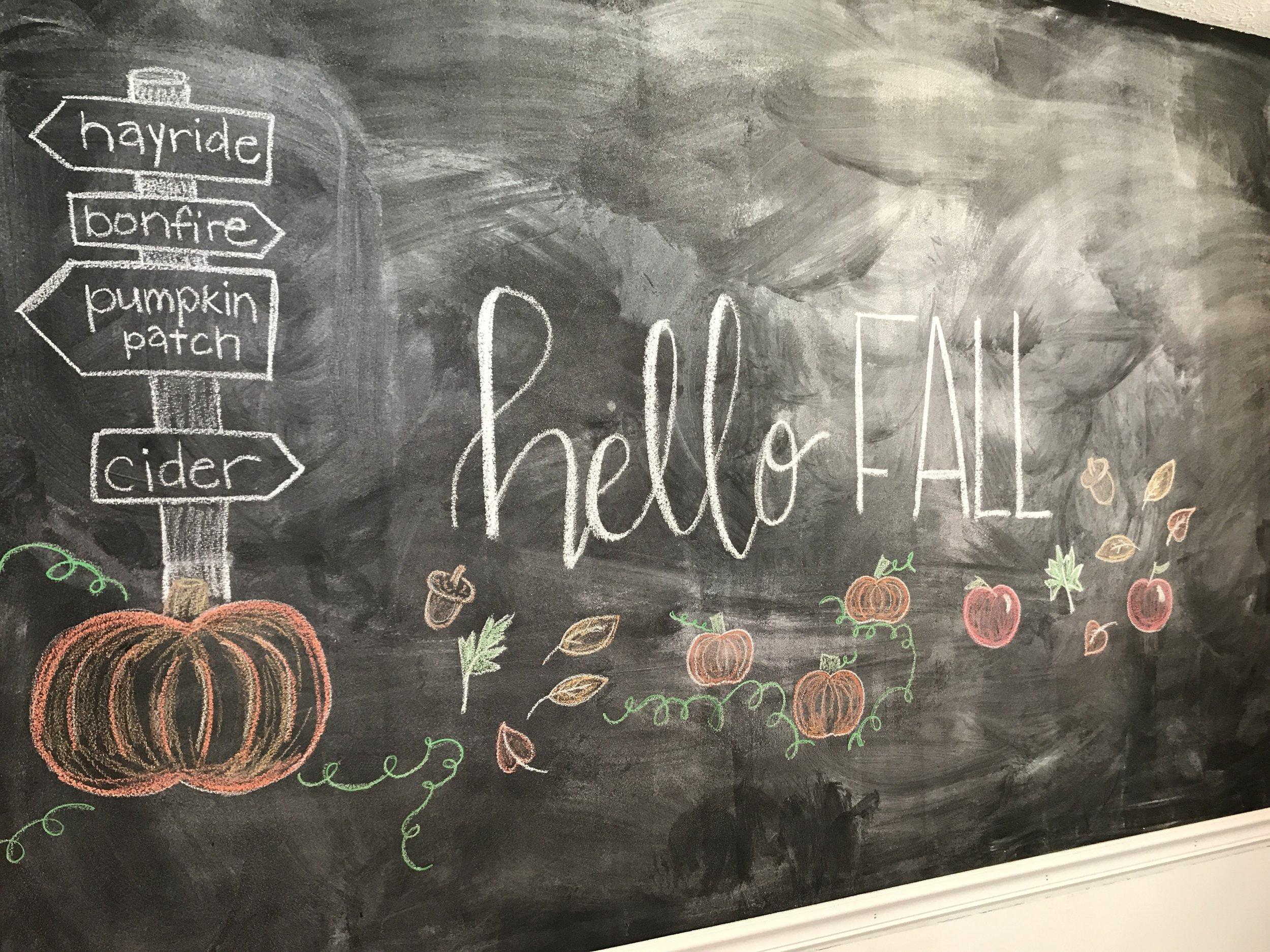 fall chalkboard wall decor