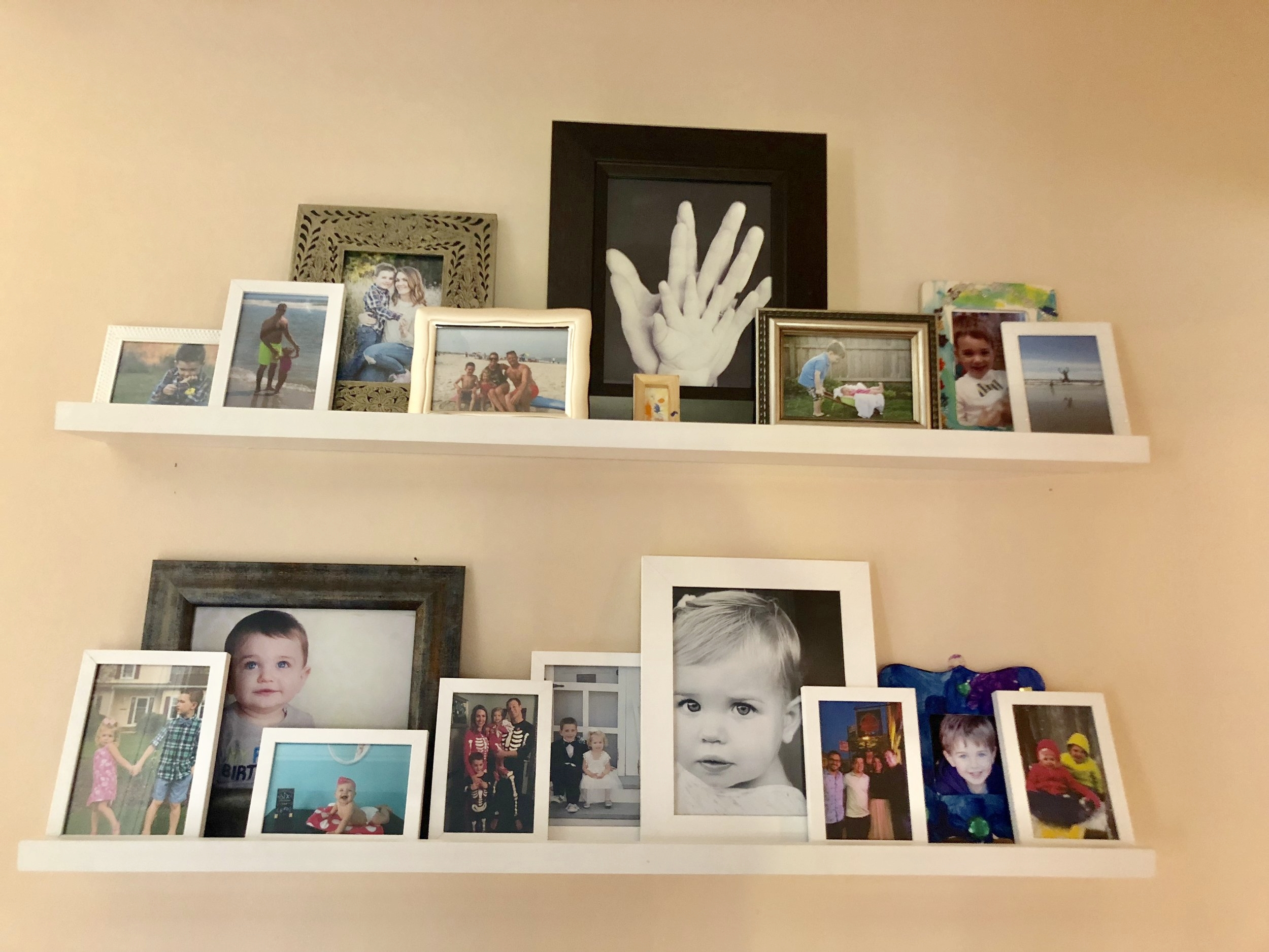 I purchased these photo shelves online!