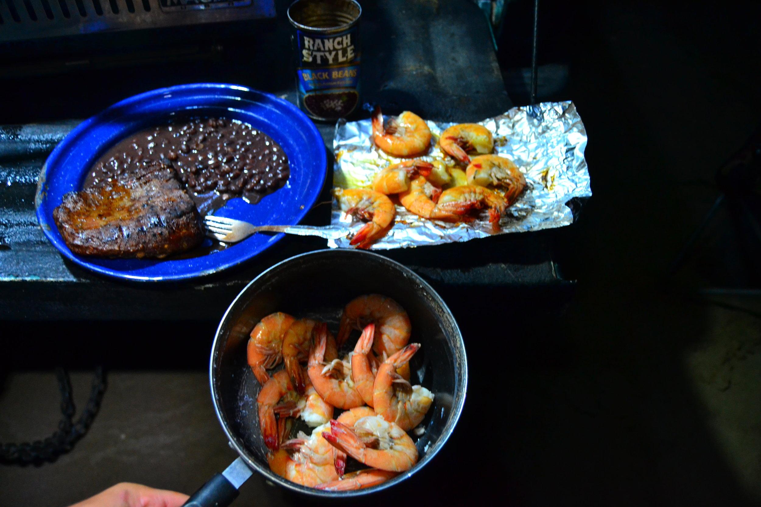 Shark fishing dinner-Steak and Shrimp