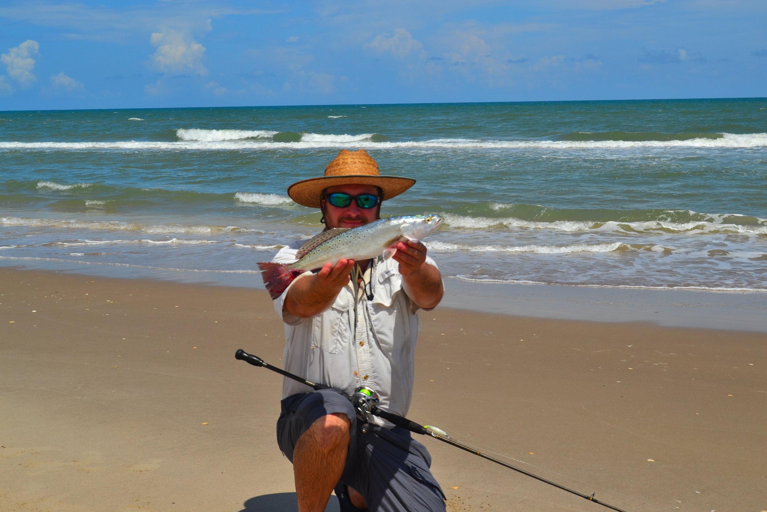 July surf trout on plastics